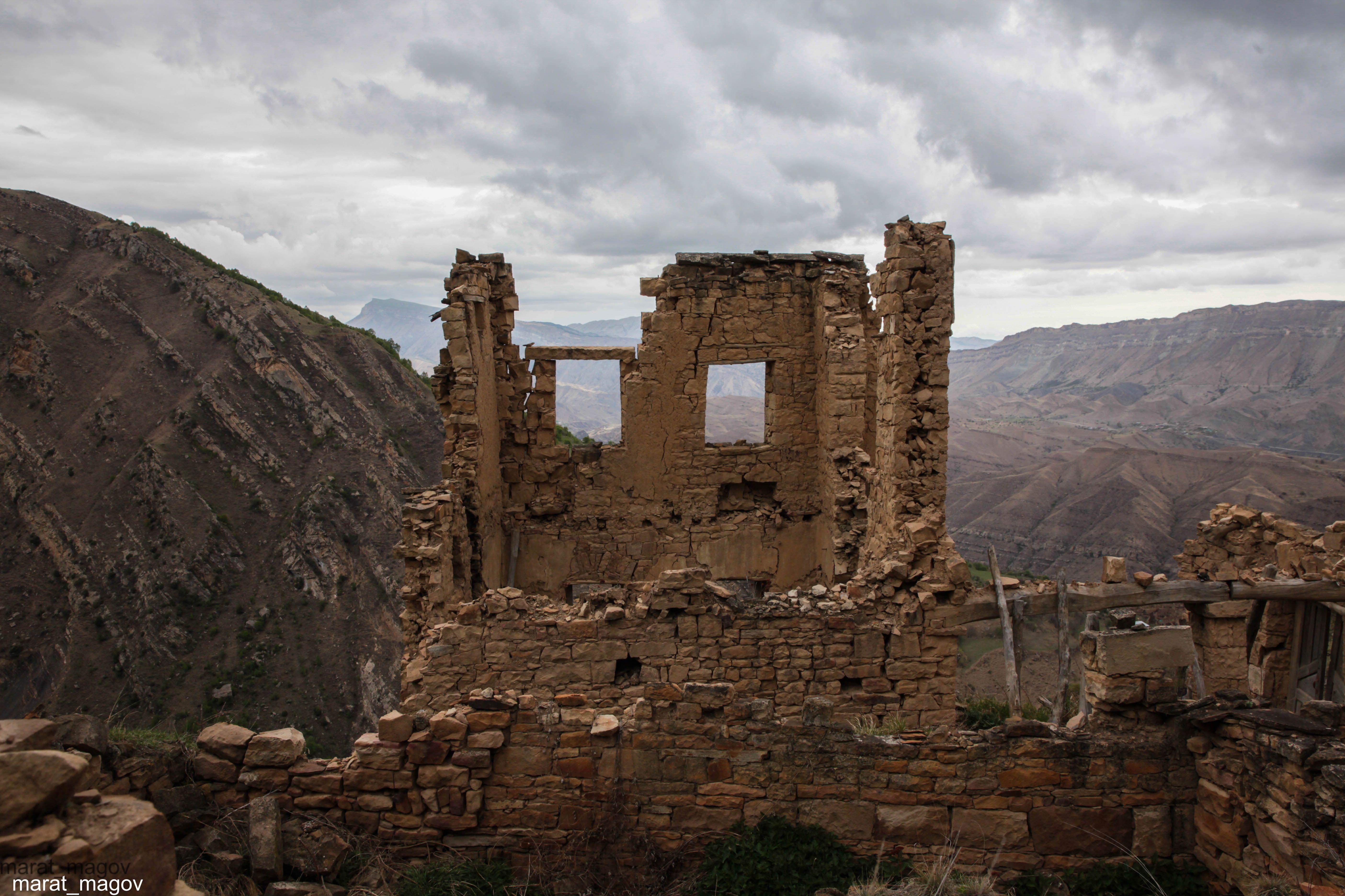 развалины,аул,горы,вершины,пейзаж,небо,деревья,дагестан,природа, Magov Marat