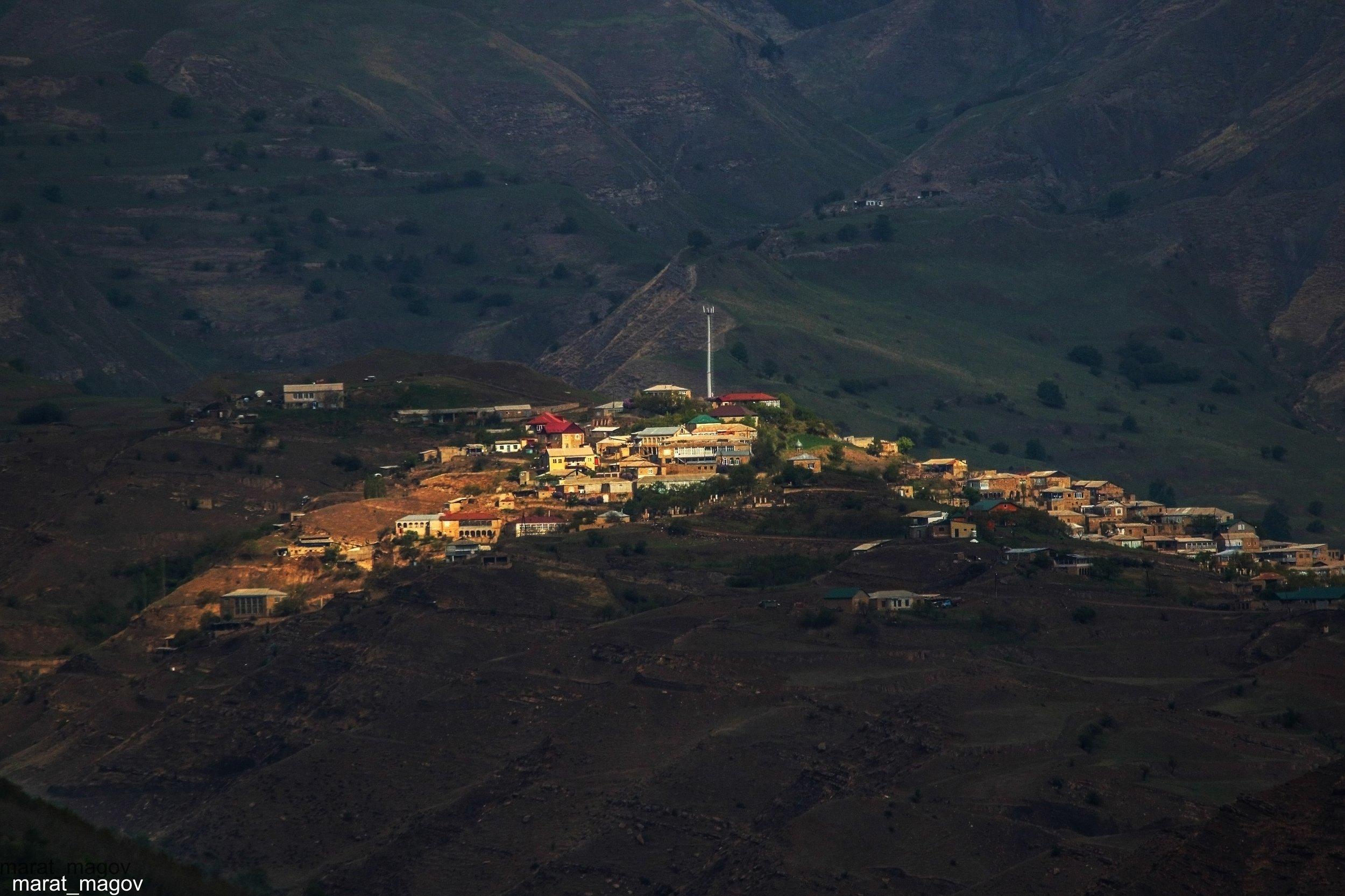 горы,аул,вершины,пейзаж,небо,деревья,дагестан,природа, Magov Marat