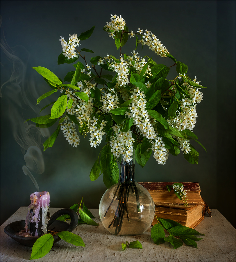 still life, натюрморт,    винтаж,    цветы, черемуха, букет, свеча, дым,, Шерман Михаил