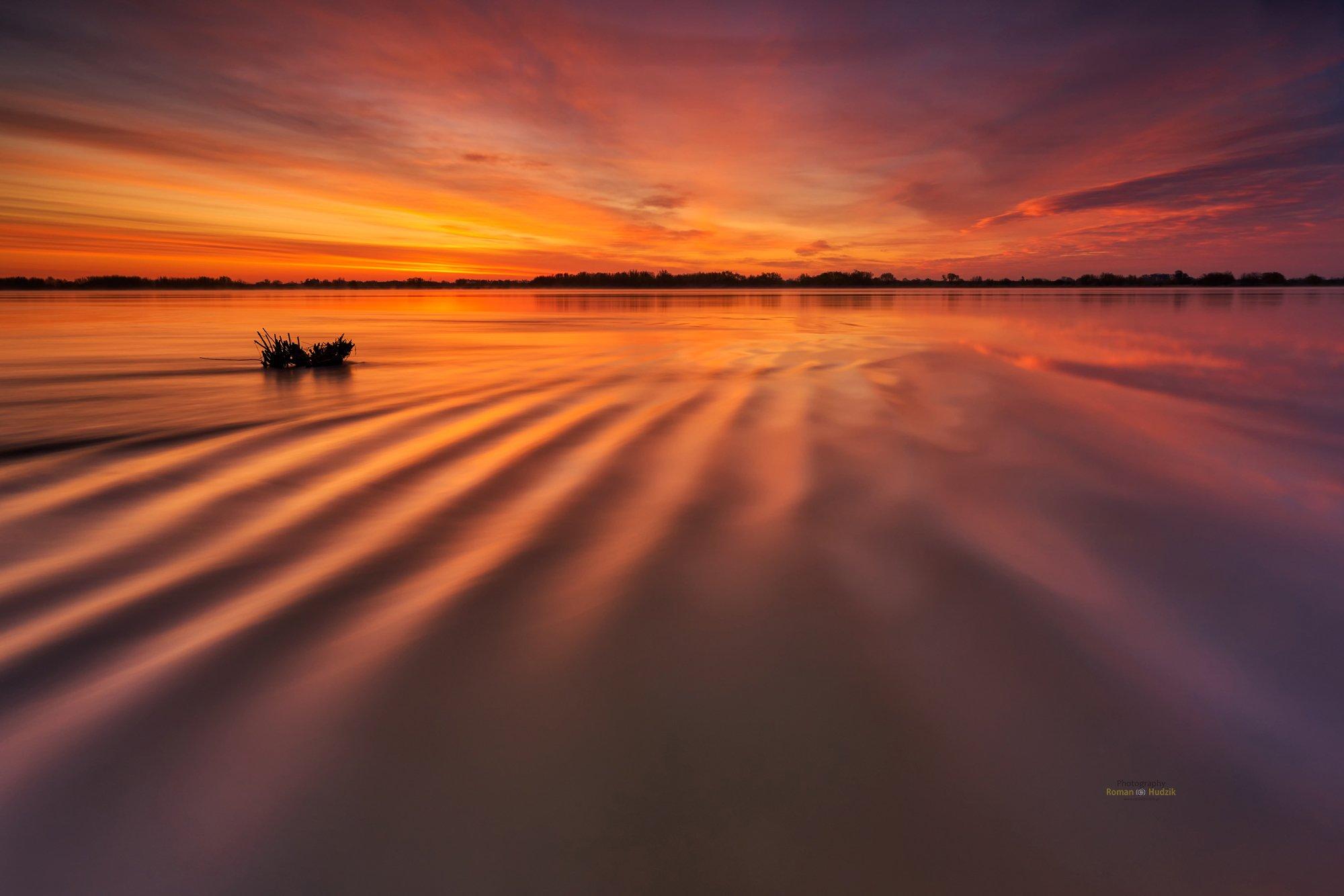 water, landscape, sunrise, clouds, colors, wrinkles,, Hudzik Roman