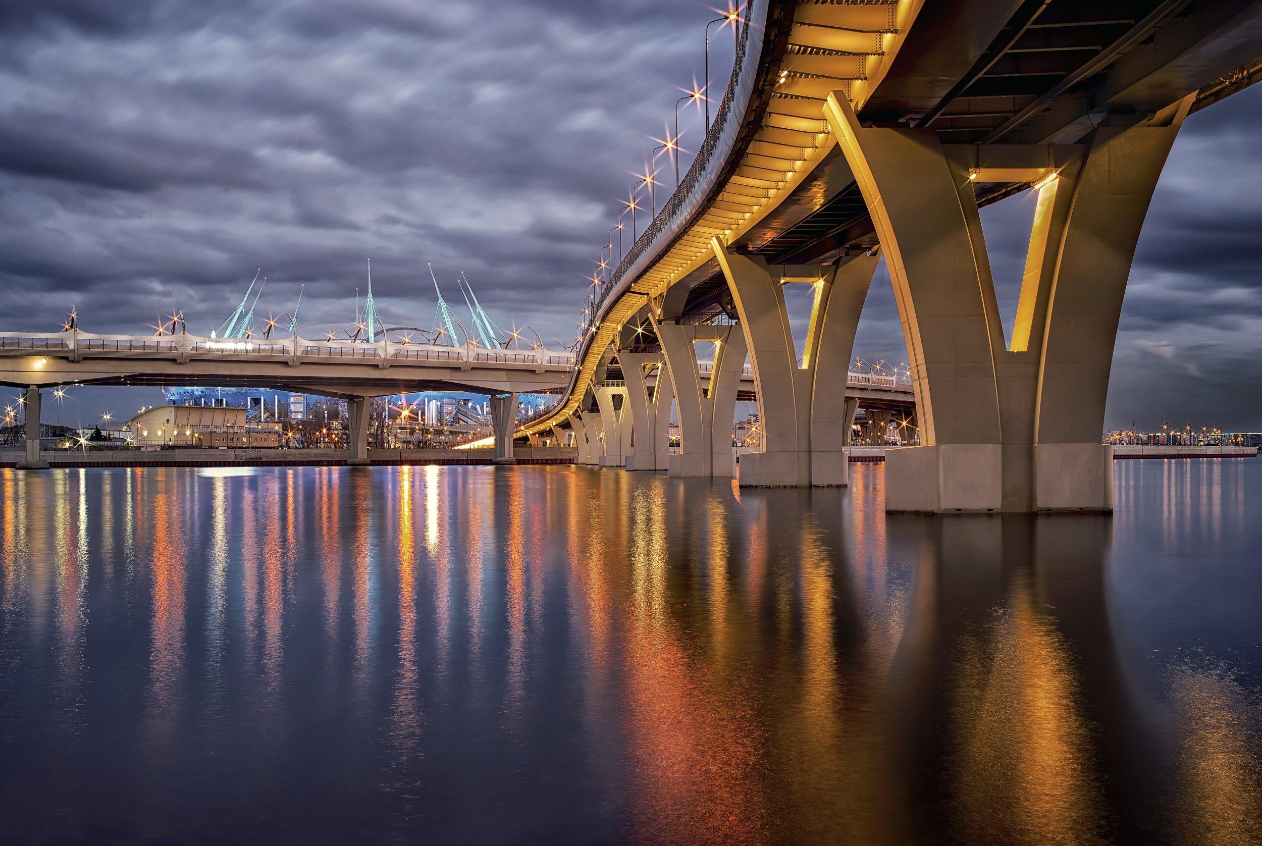 город,вечер,мост,огни,отражения,набережная,река, Тамара