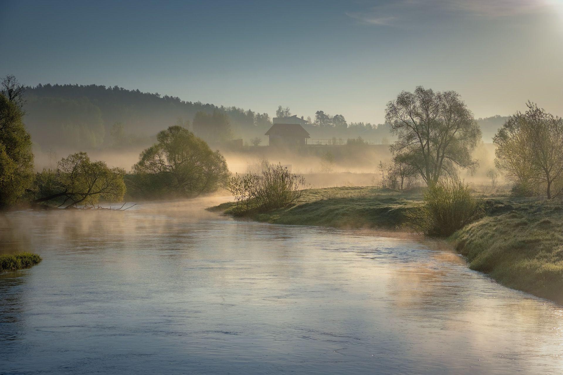 река, истра, утро, деревья, дома, зелень, поток, рассвет, вода, пейзаж, Чиж Андрей