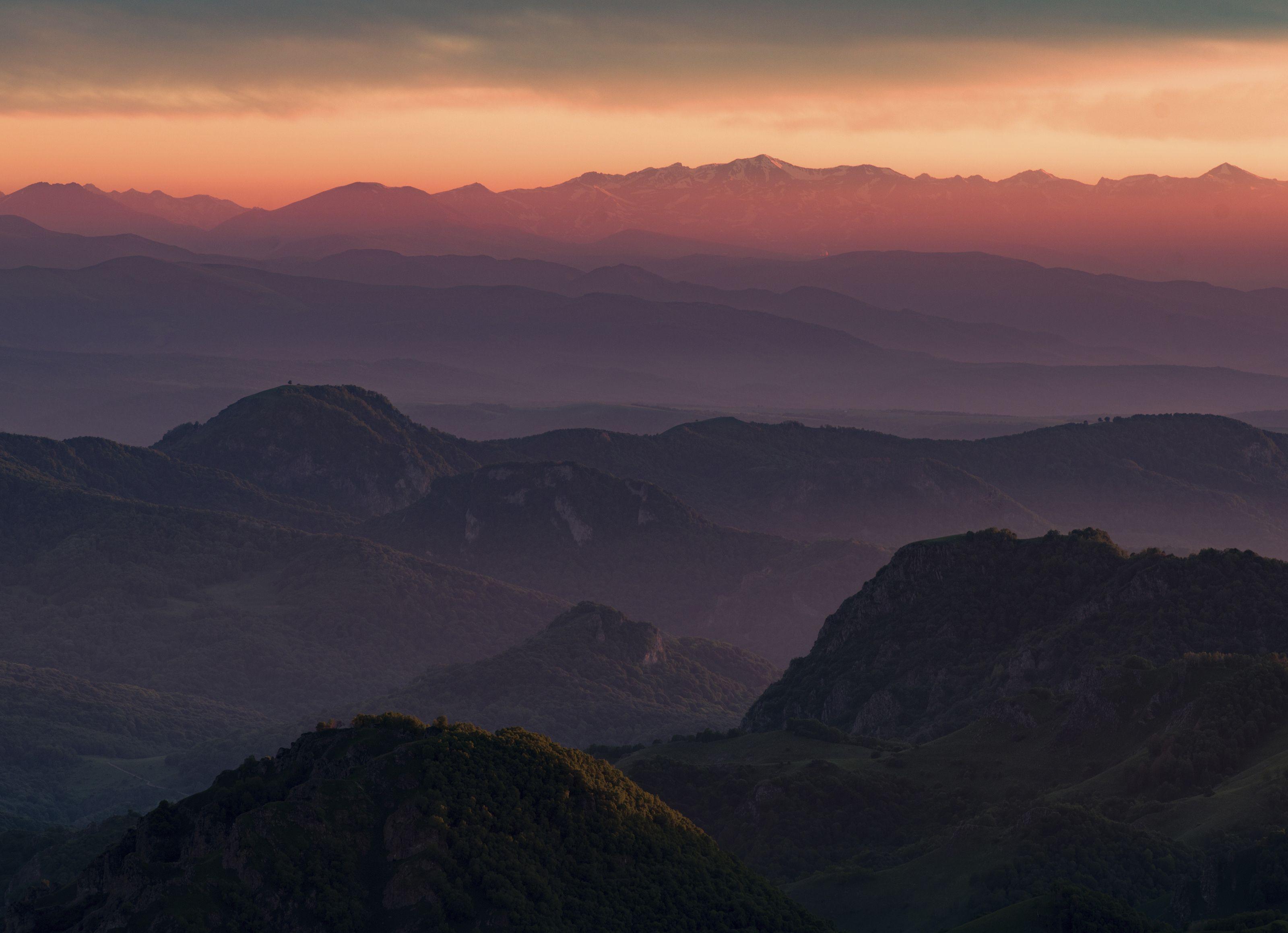 гора, рассвет, небо, плато, облака, утро, закат, вечер , слои, холмы, долина, дымка, туман, Алабердов Арсен