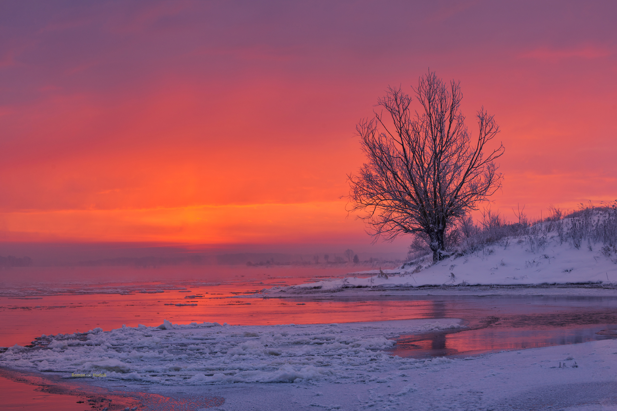 winter, tree, sunrise, landscape, water,, Hudzik Roman
