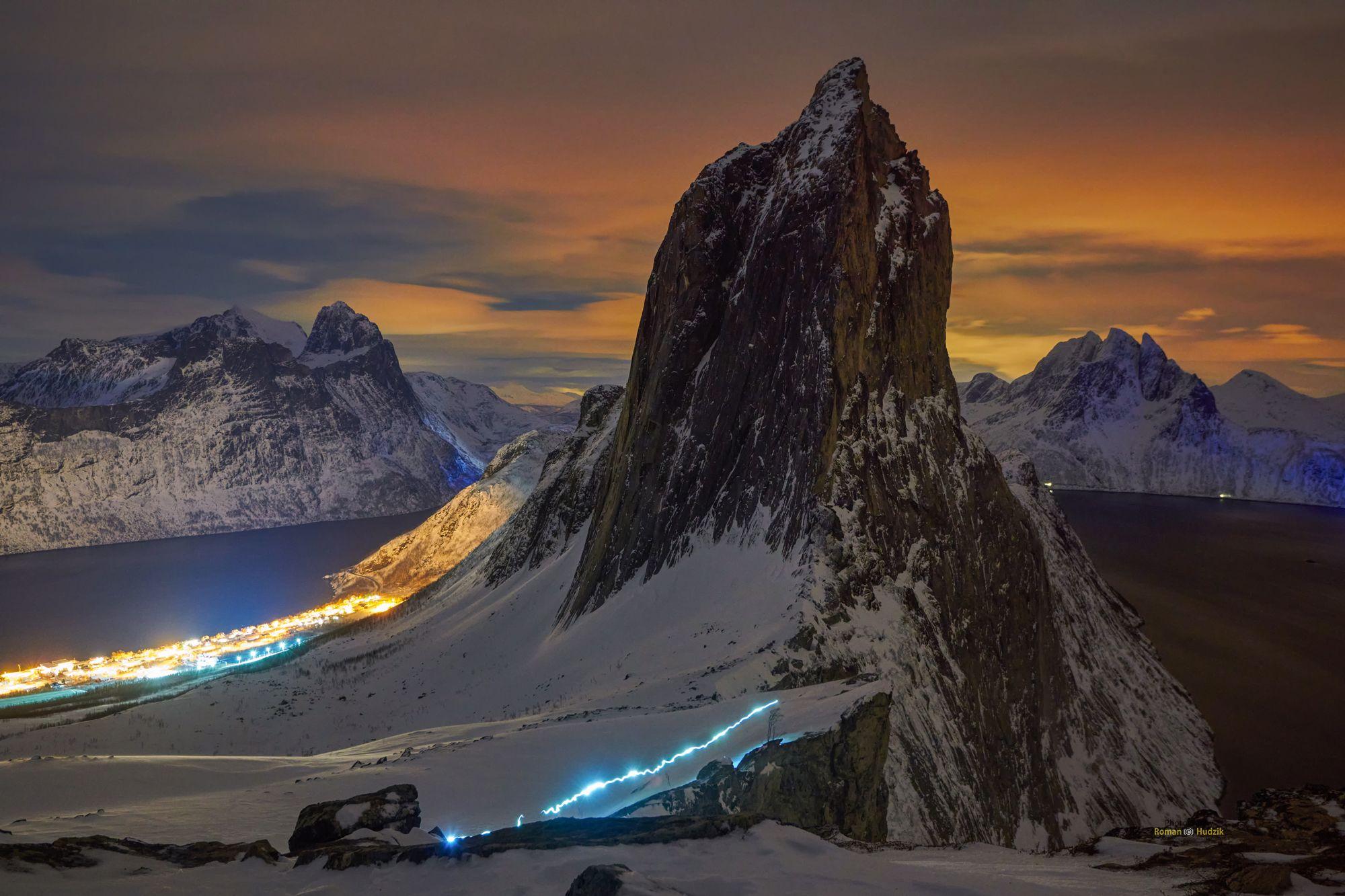 Segla, night, landscape, sky, Lofoten, Senja,, Hudzik Roman