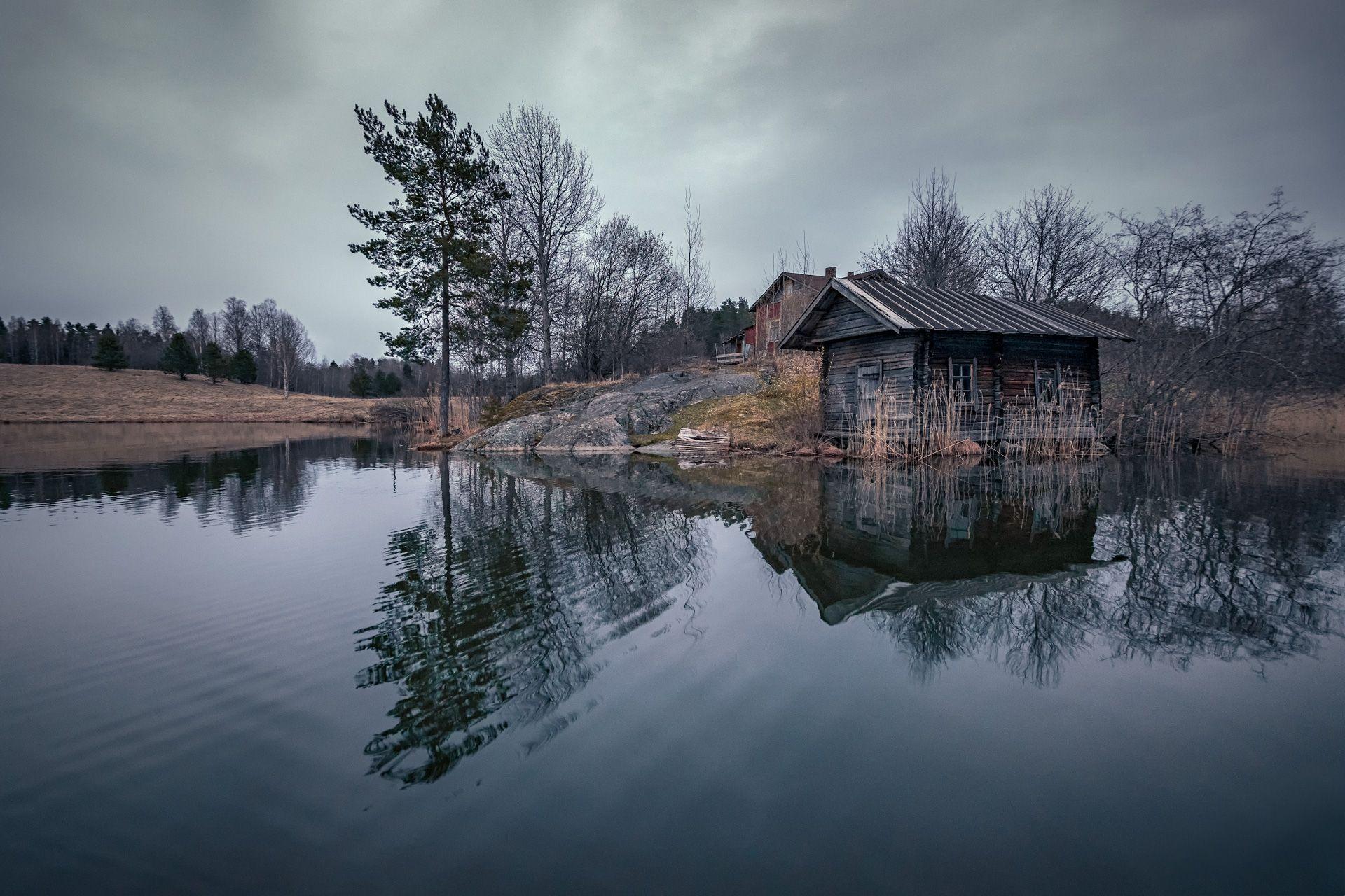 карелия, озеро, дом, баня, отшельник, деревня, скала, сосна, лес, облака, пейзаж, природа, Чиж Андрей