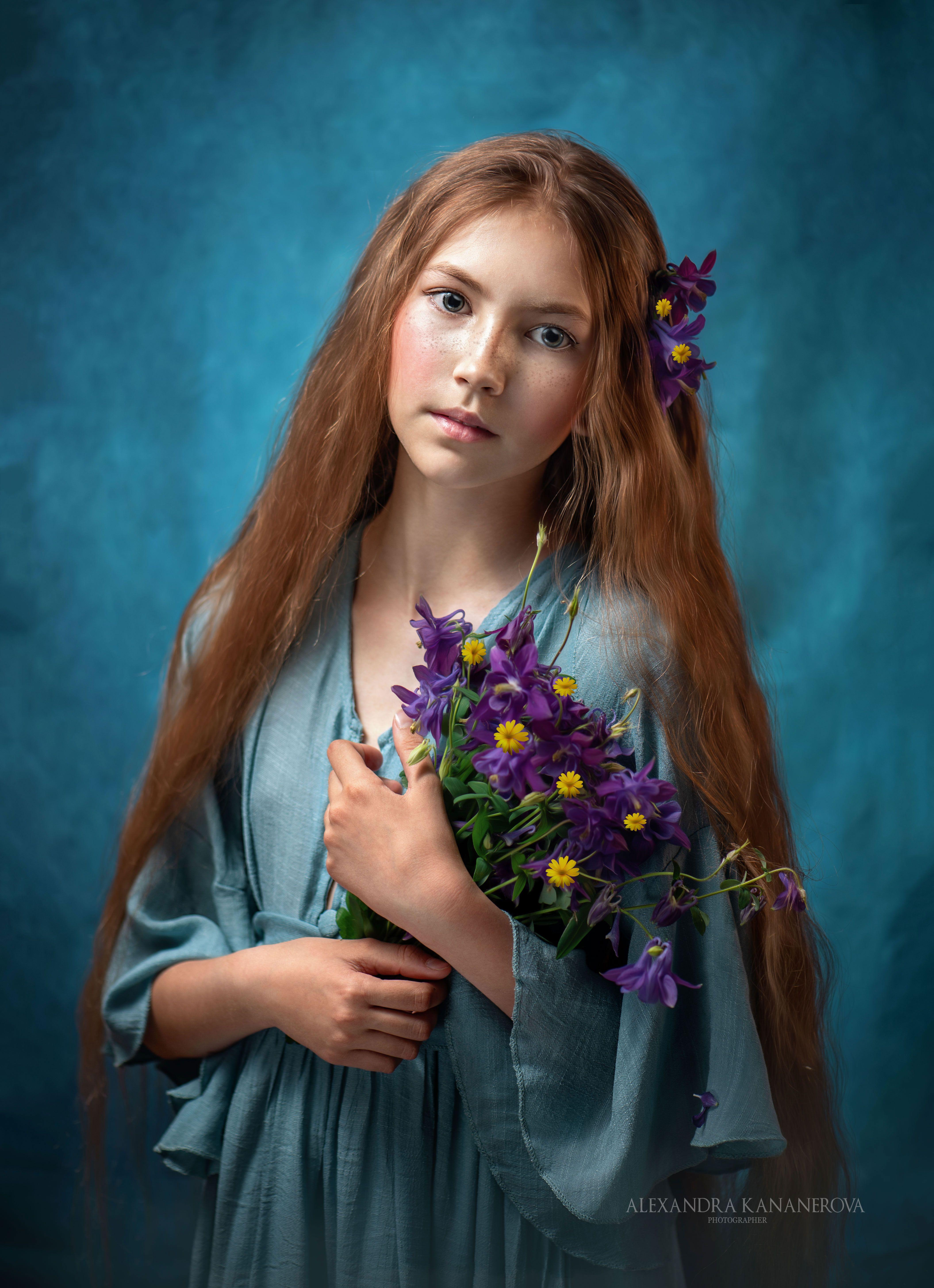 портрет, дети, цветы, Кананерова Александра