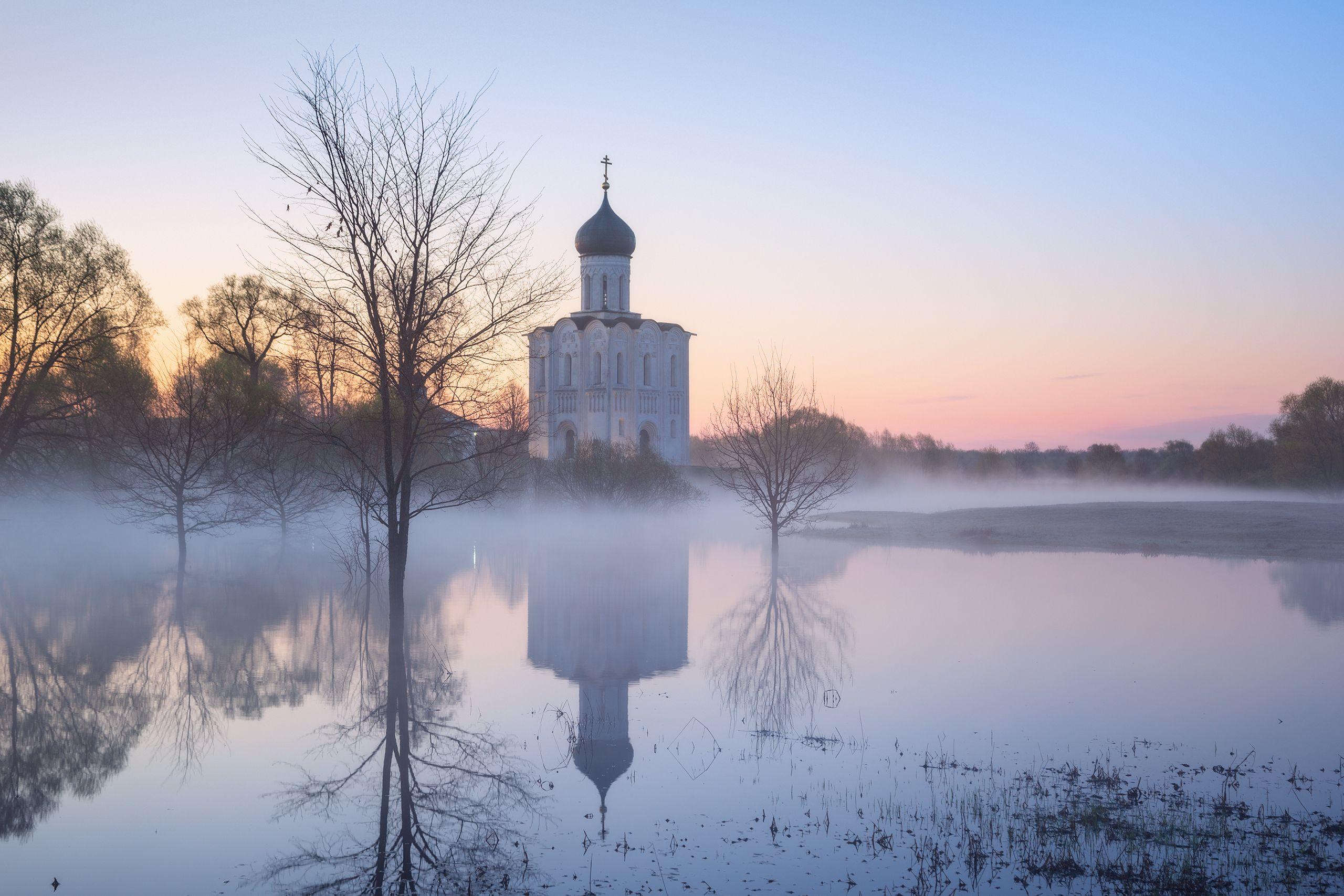 туман, храм, утро, боголюбово, Стрельчук Александр