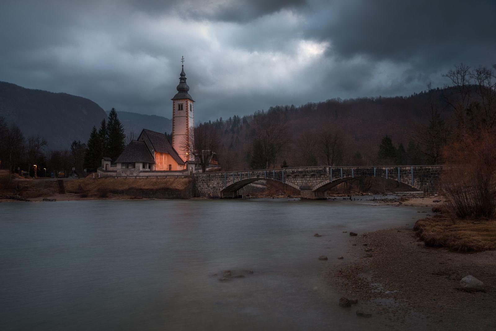 церковь, мост, озеро, Бохинь, Словения, облака, вода, Cтанислав Малых