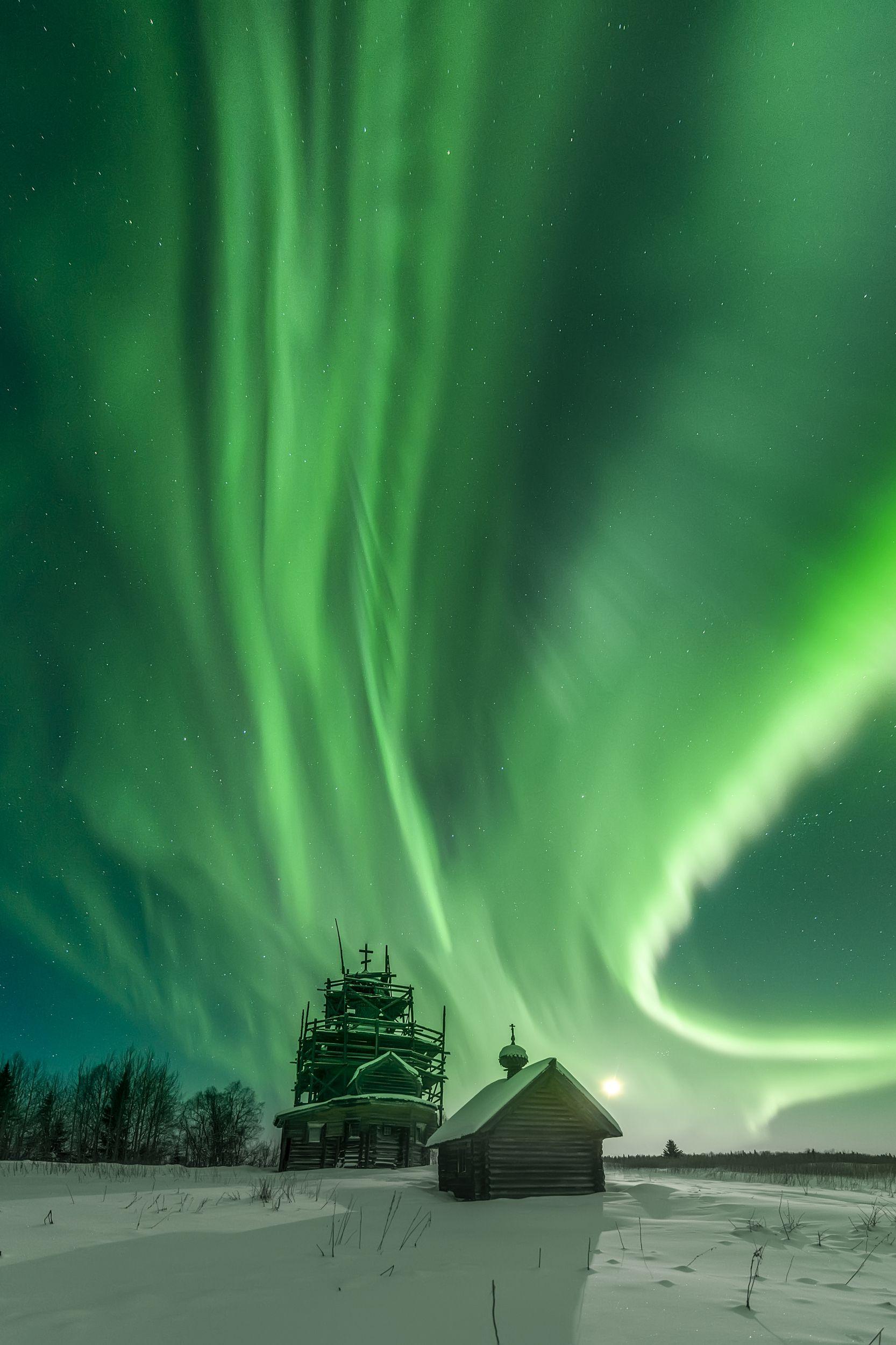 северное сияние, aurora borealis, архангельская область, деревянное зодчество, ночное фото, Карпов Михаил