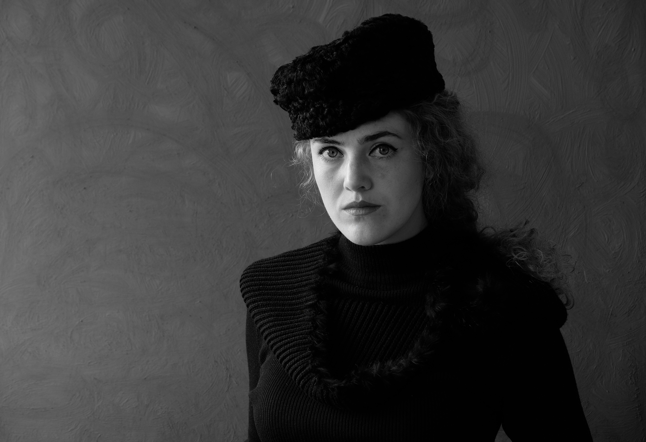 Portrait, female, woman, young, Black & white, hat, people, Norway, mood portrait, , Povarova Ree Svetlana