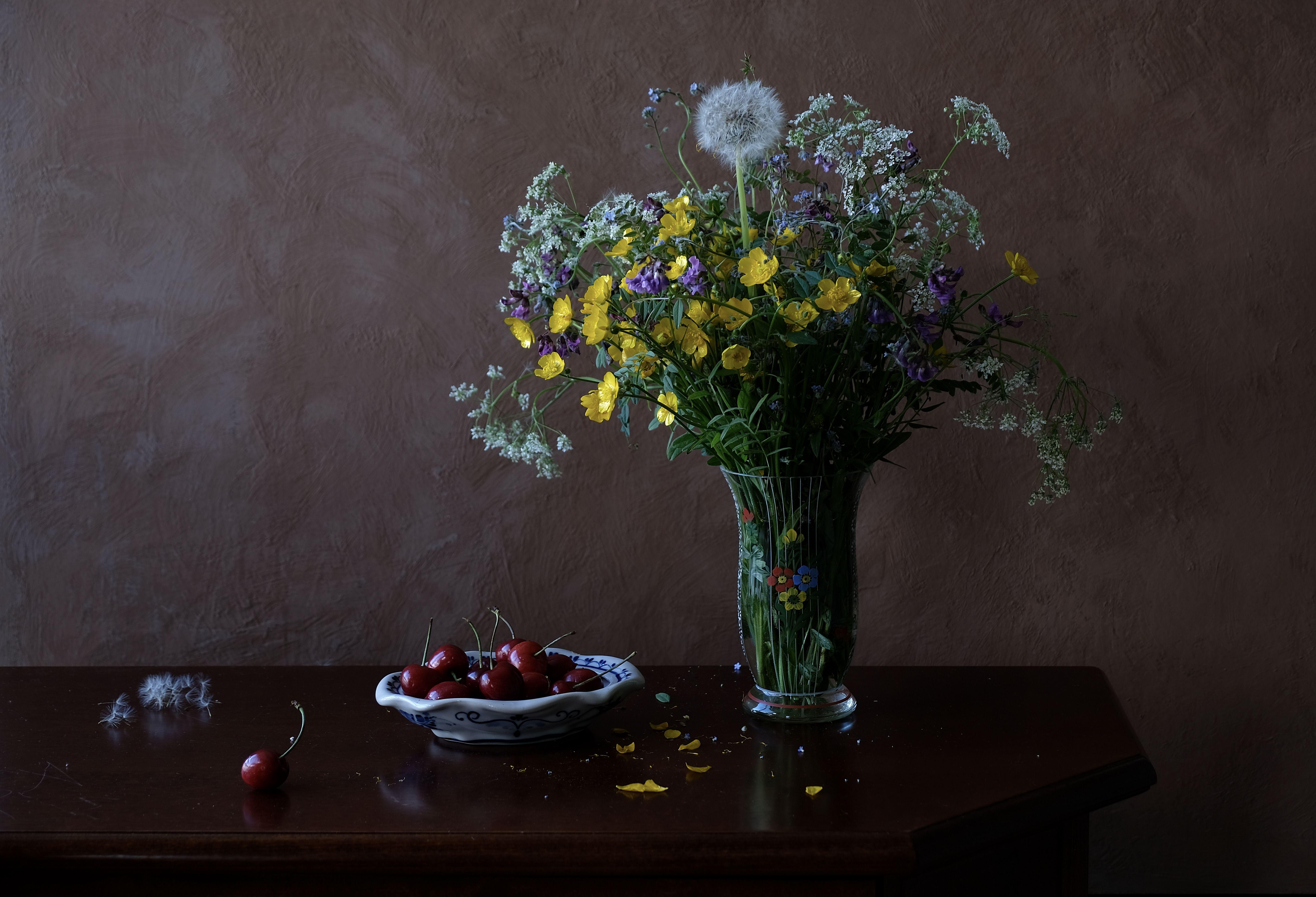 Still life, flowers, flora, colors, nature, Norway, fruit, food, summer, sweet cherry, dandelion, wildflowers, , Povarova Ree Svetlana