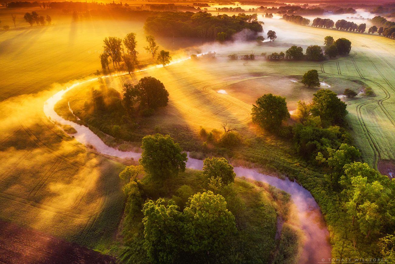 landscape, poland, light, spring, awesome, amazing, sunrise, sunset, lovely, nature, travel, dji, mavic, river, fog, mist, mood, trees, Tomasz Wieczorek