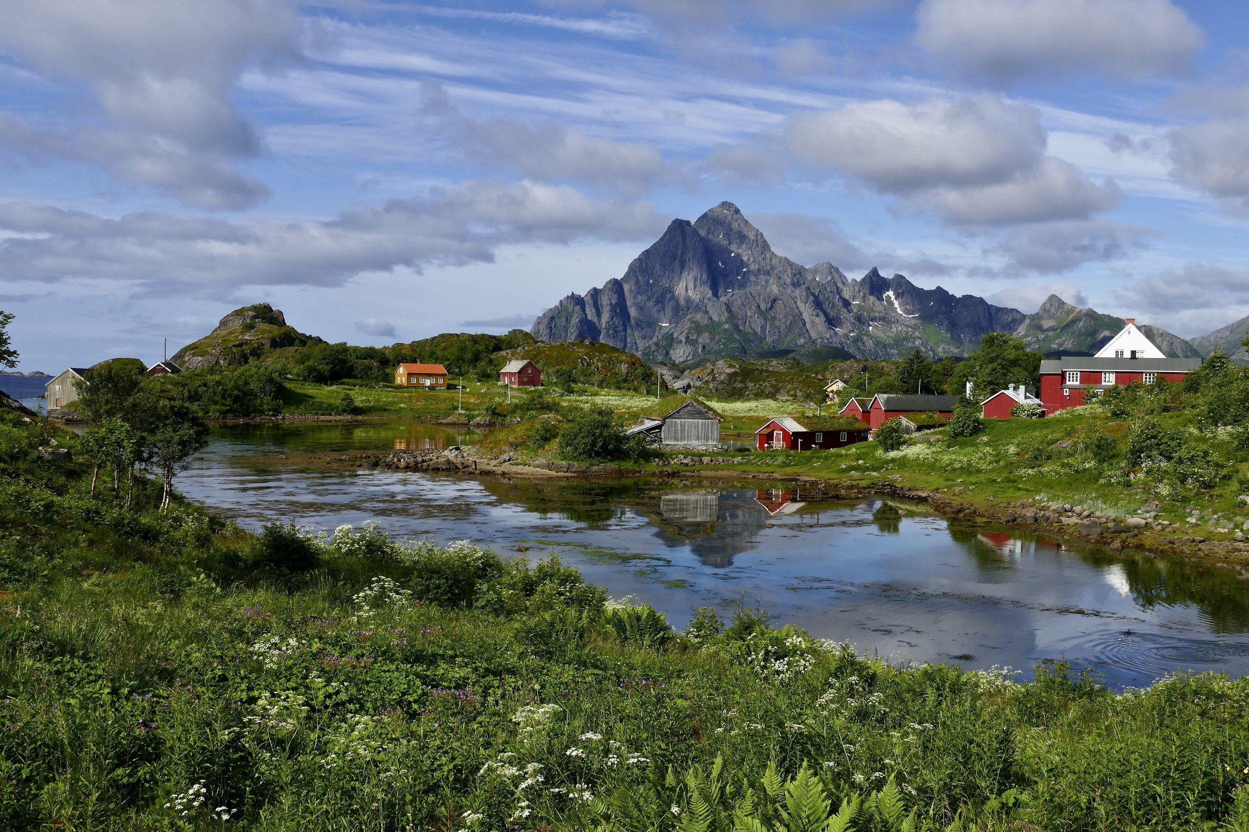 Landscapes, nature, Norway, Lofoten, mountain, water, fjord, houses, colors, reflection, travel, summer, sky, clouds, sun light, , Povarova Ree Svetlana