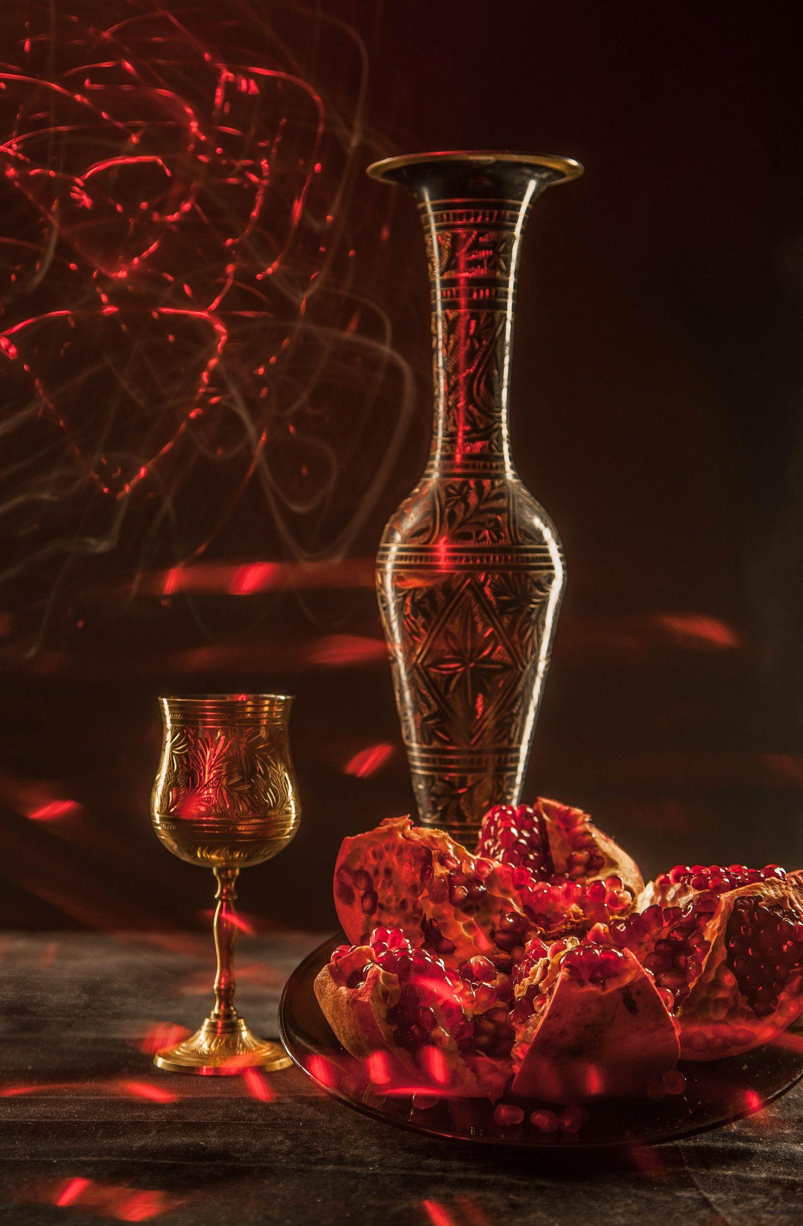 вино, гранат, искры, кубок, Сагдиева Эльвира