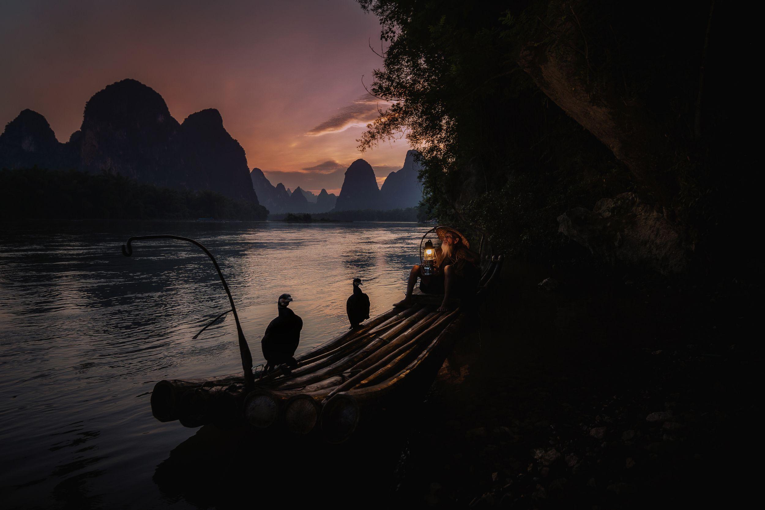 fisherman, china, yangshuo, cormorant, Токарев Олег