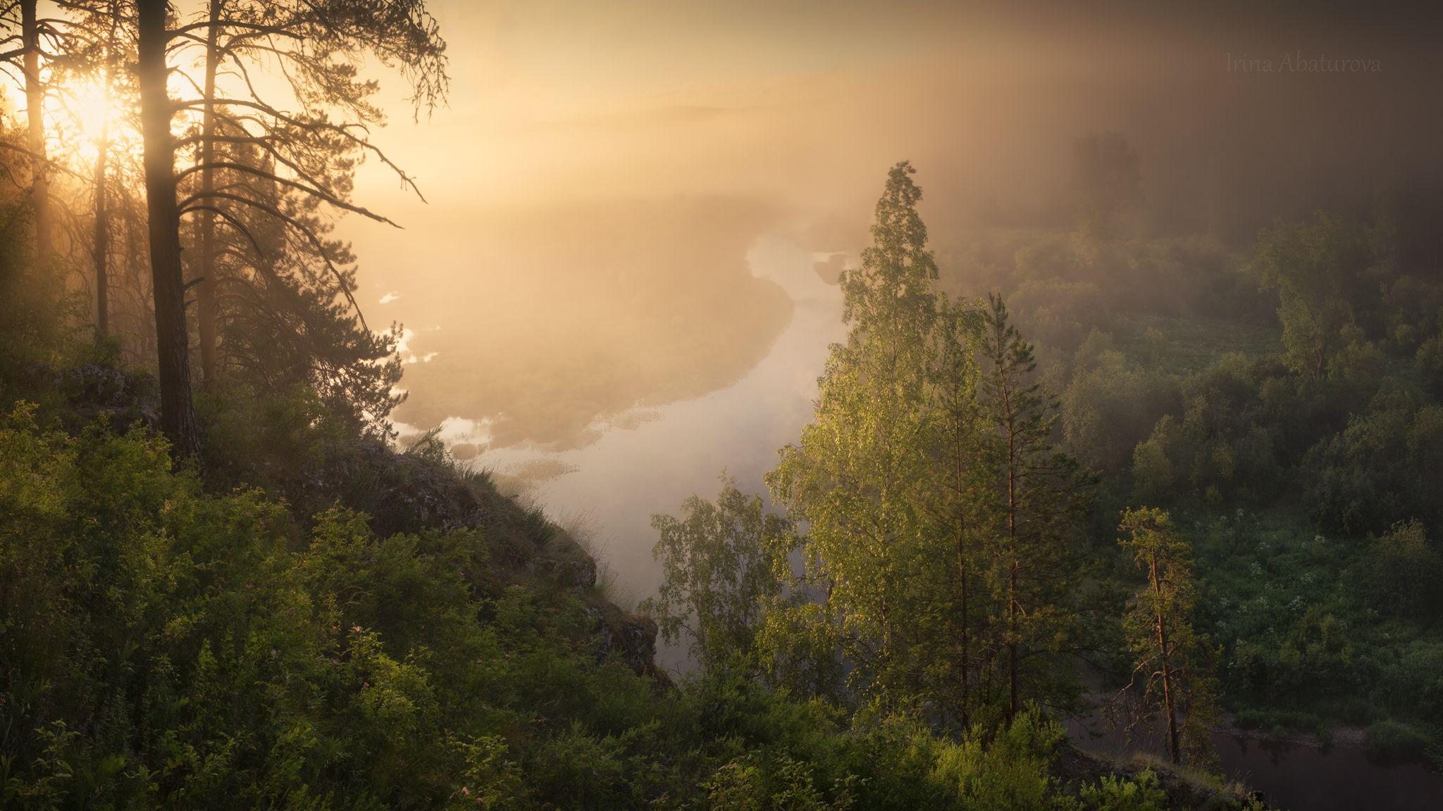урал, оленьи ручьи, природный парк, рассвет, лето, туман, река, Абатурова Ирина