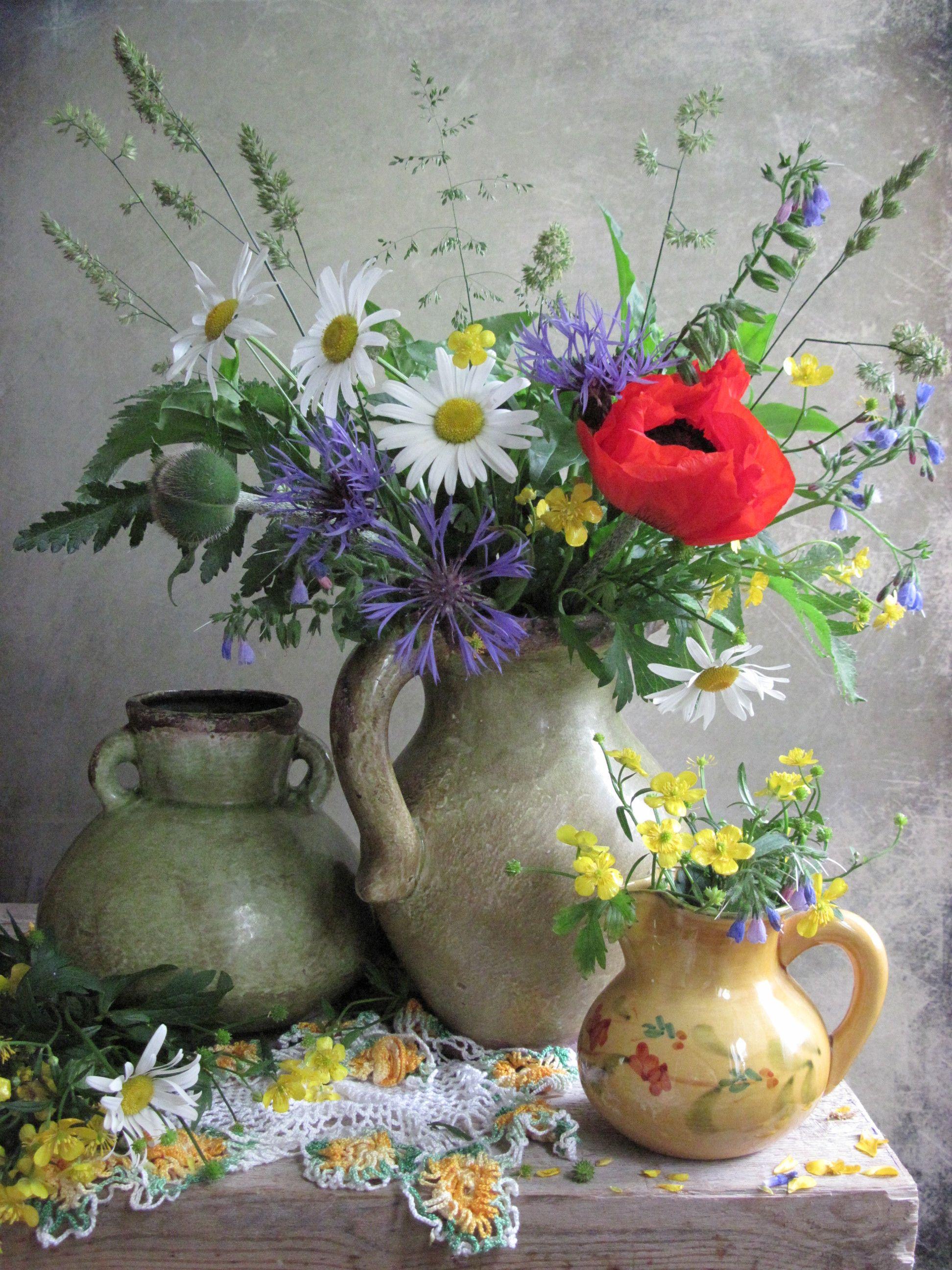 цветы. букет, ромашки, васильки, мак. лютики, кувшины, керамика, Тихомирова Наталия