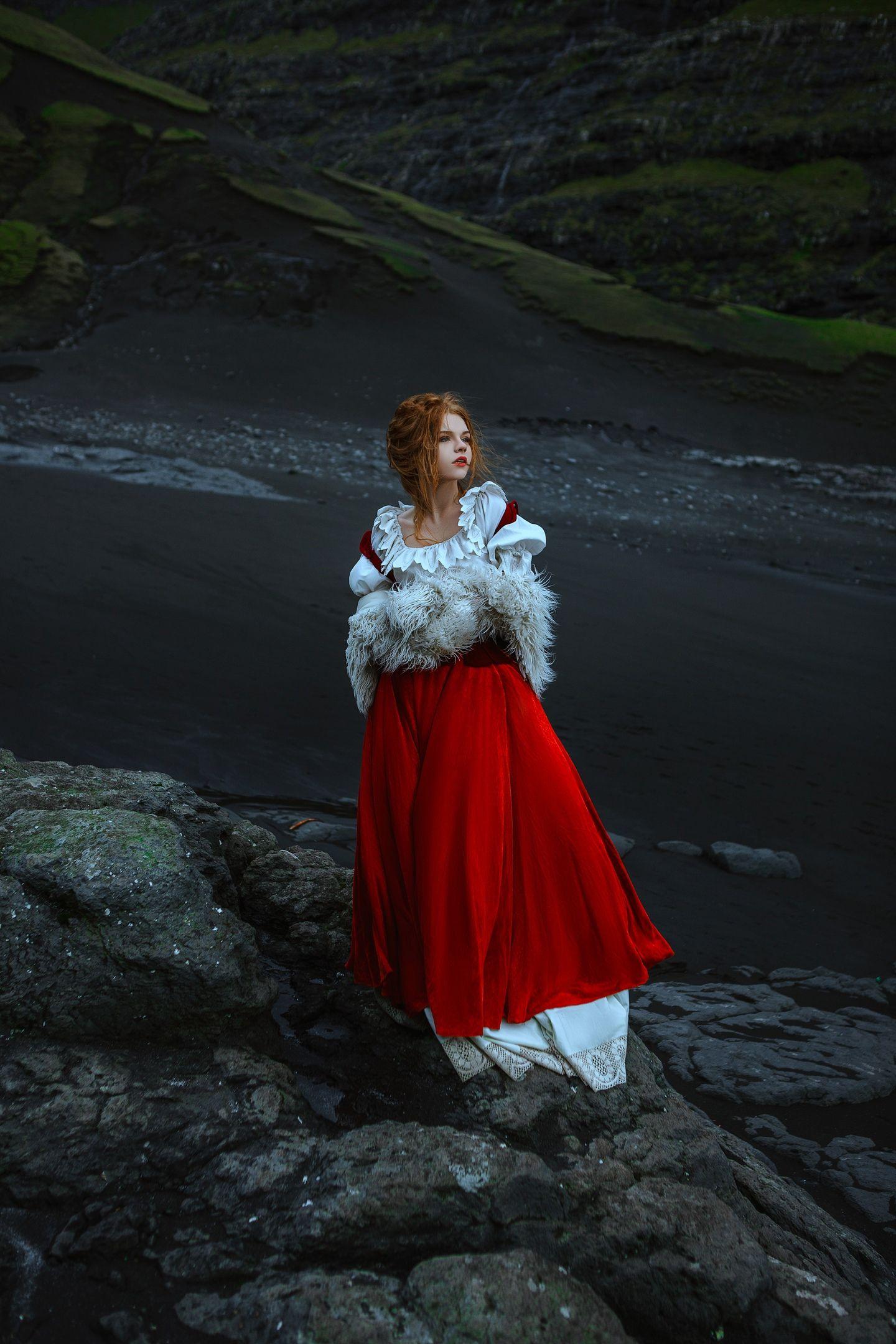 ocean, faroe, model, wind, dress, woman, girl, beauty, motion, rocks, wild, , Клио Катерина