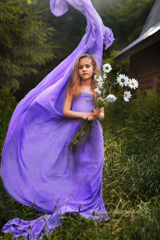 девочка,лес,ромашки,букет, Володько Марина