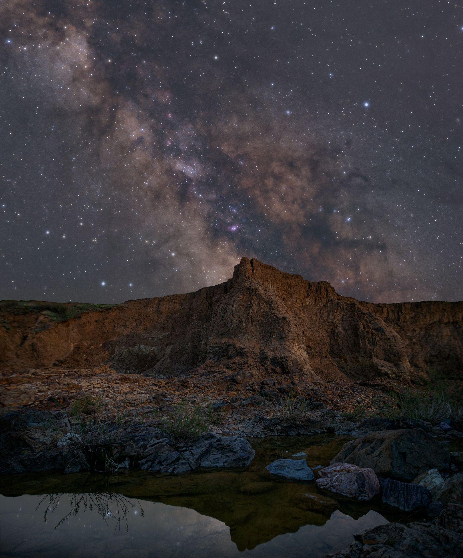 млечный путь, звезды, космос, ночь, длинная выдержка, canon, пейзаж, туманность, каньон, весна, река, вода, трава, камни, скалы, отражение, Бондарь Евгений