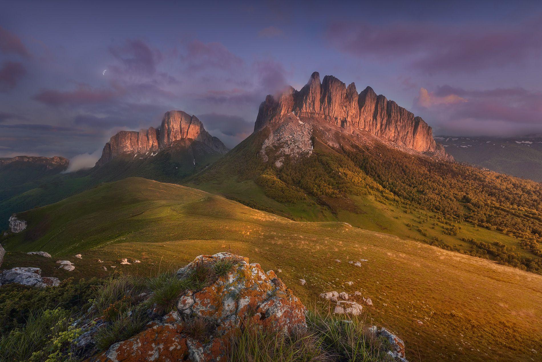 горы, закат, пейзаж, Дударев Александр