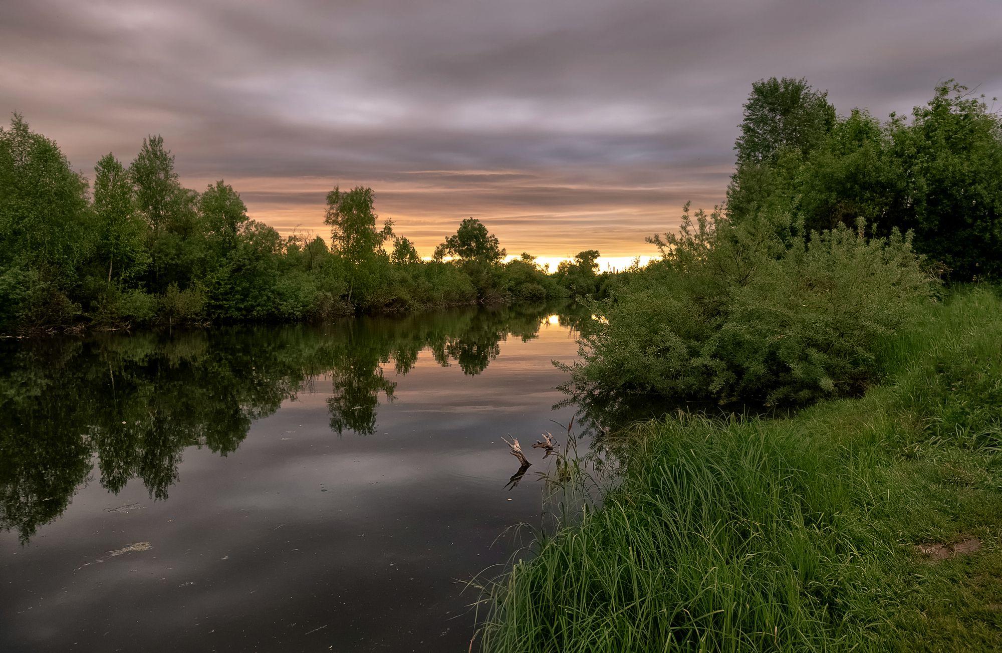 вечер.,река, закат., Фомина Марина