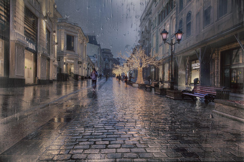 москва, город, вечер, осень, дождь, улица, дома, фонари, прохожие, Заколдаева Ирина