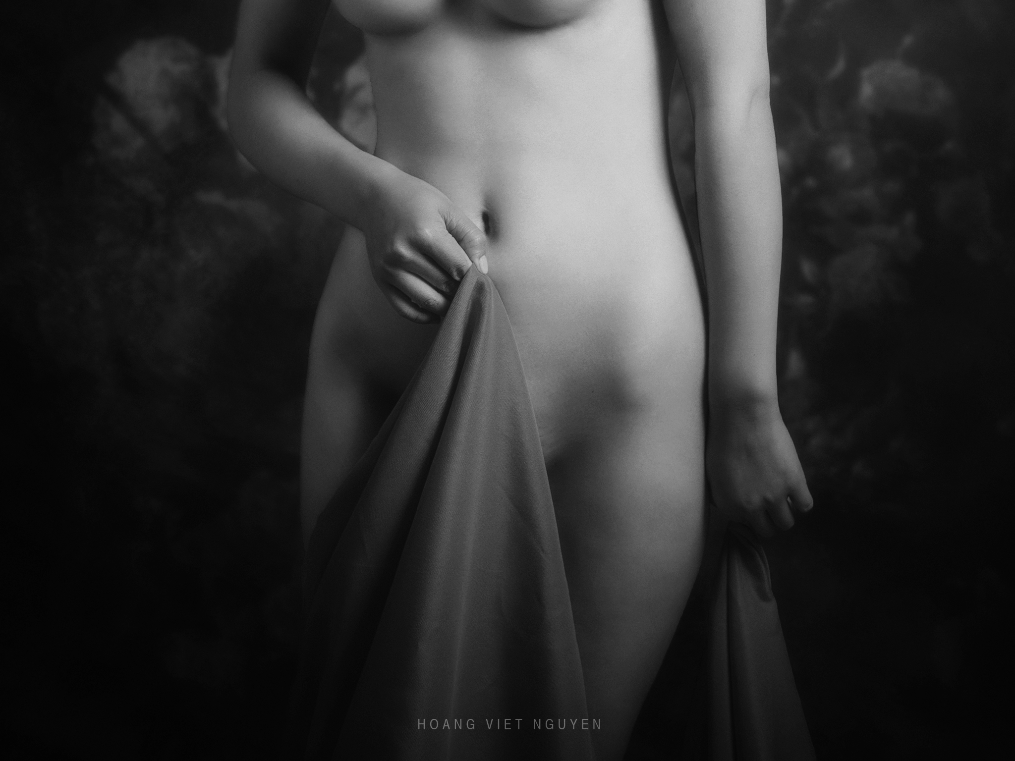 portrait, woman, female, vietnamese, asian, girl, studio,fine nude, nude, young, pure, bw, black and white, monochrome, Hoang Viet Nguyen
