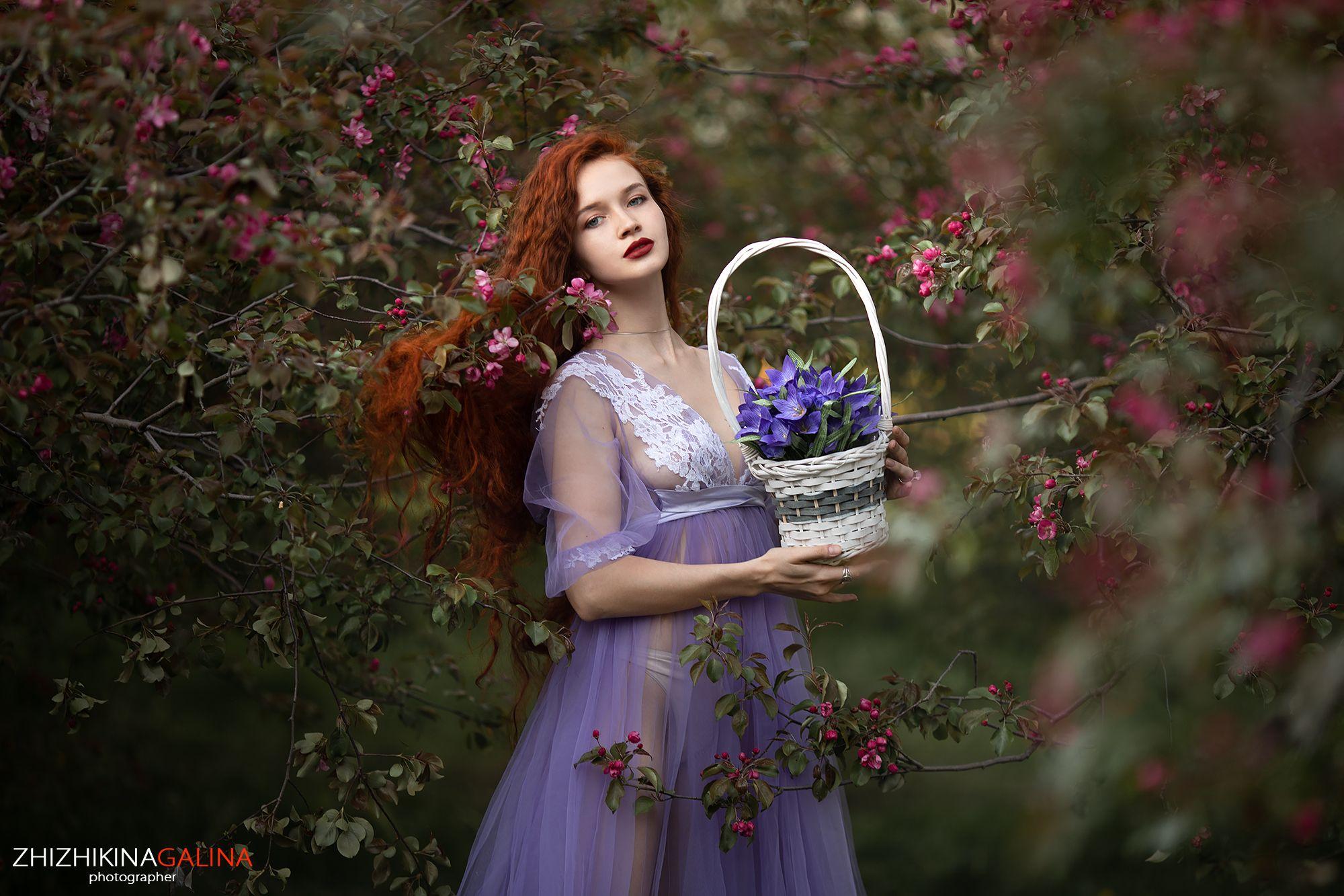 девушка, цветы, цветение, рыжая, длинные волосы, портрет, лицо, природа, girl, face, portrait, flowers, Галина Жижикина