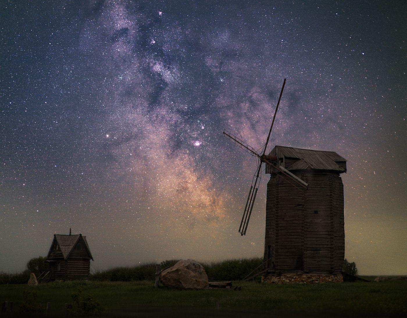 astrophoto, milky way, night, ночь, млечный путь, пейзаж, мельница, mill, Юденков Алексей