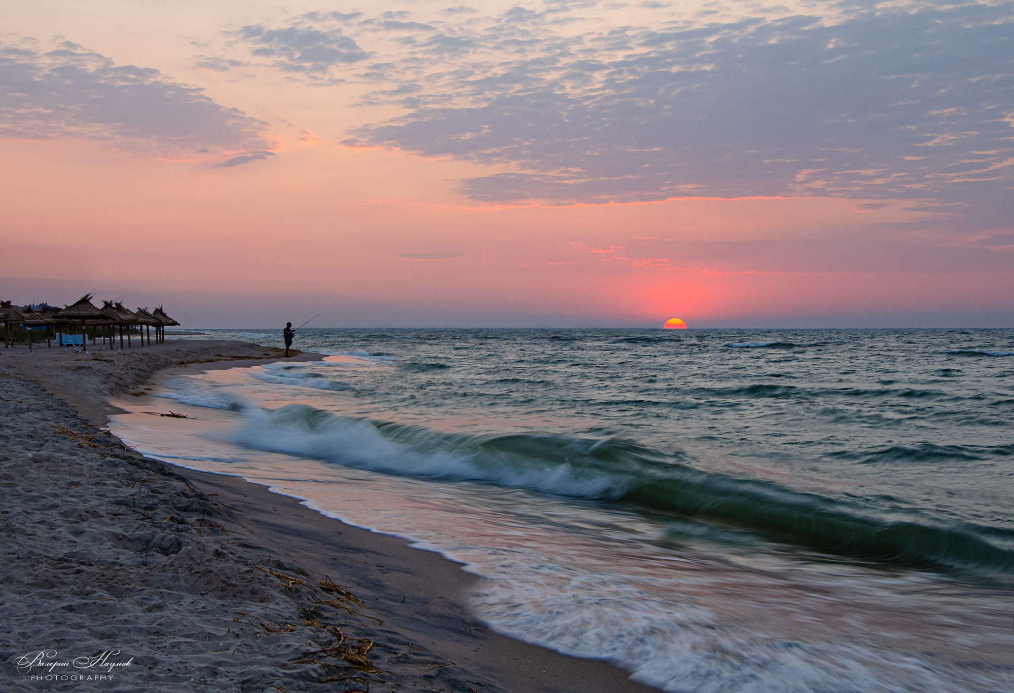утро, восход, солнце, азов, небо, облака, рыбак, Валерий Наумов