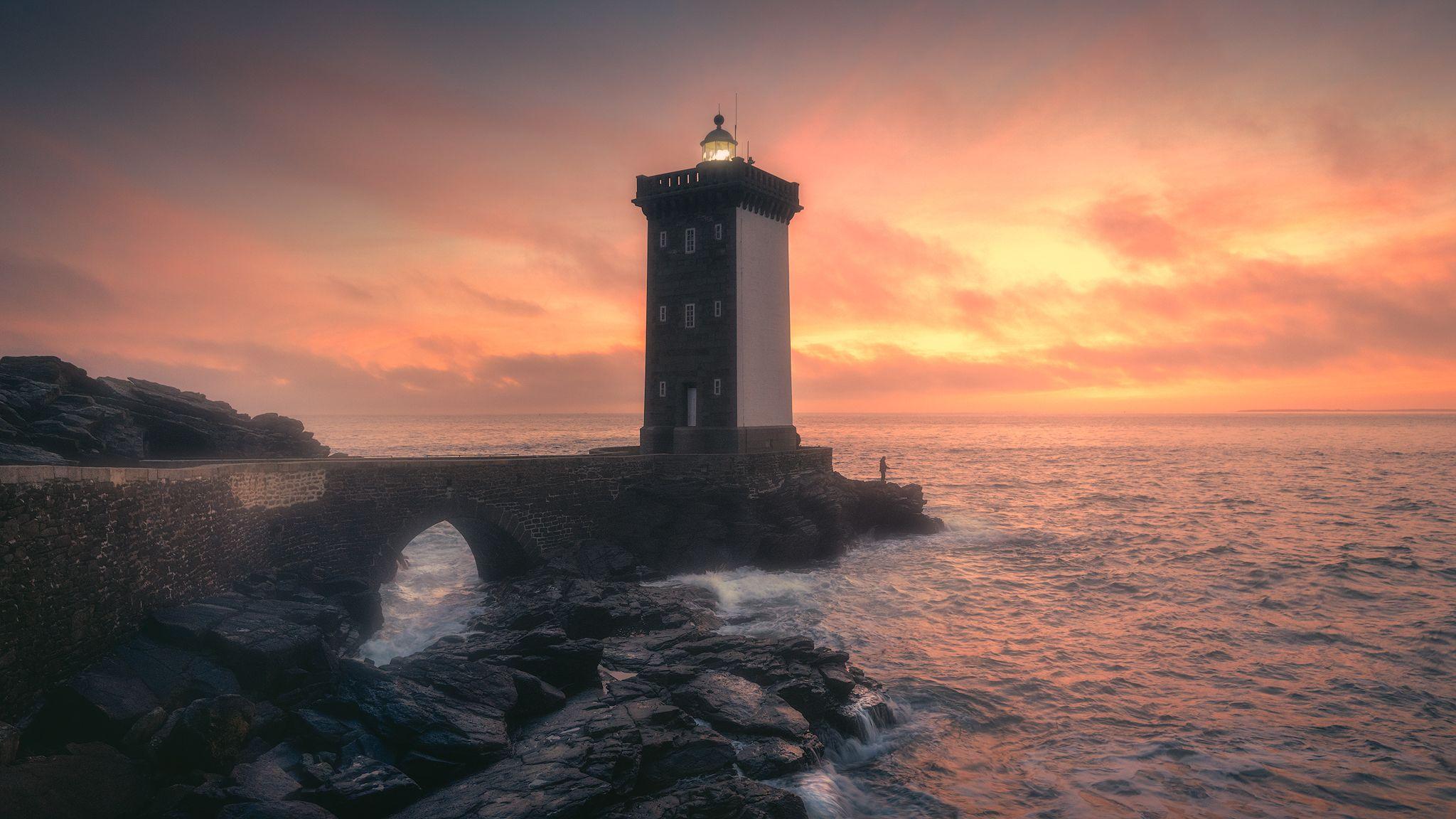france, fishing, lighthouse, sunset, beautiful, Daut Remo