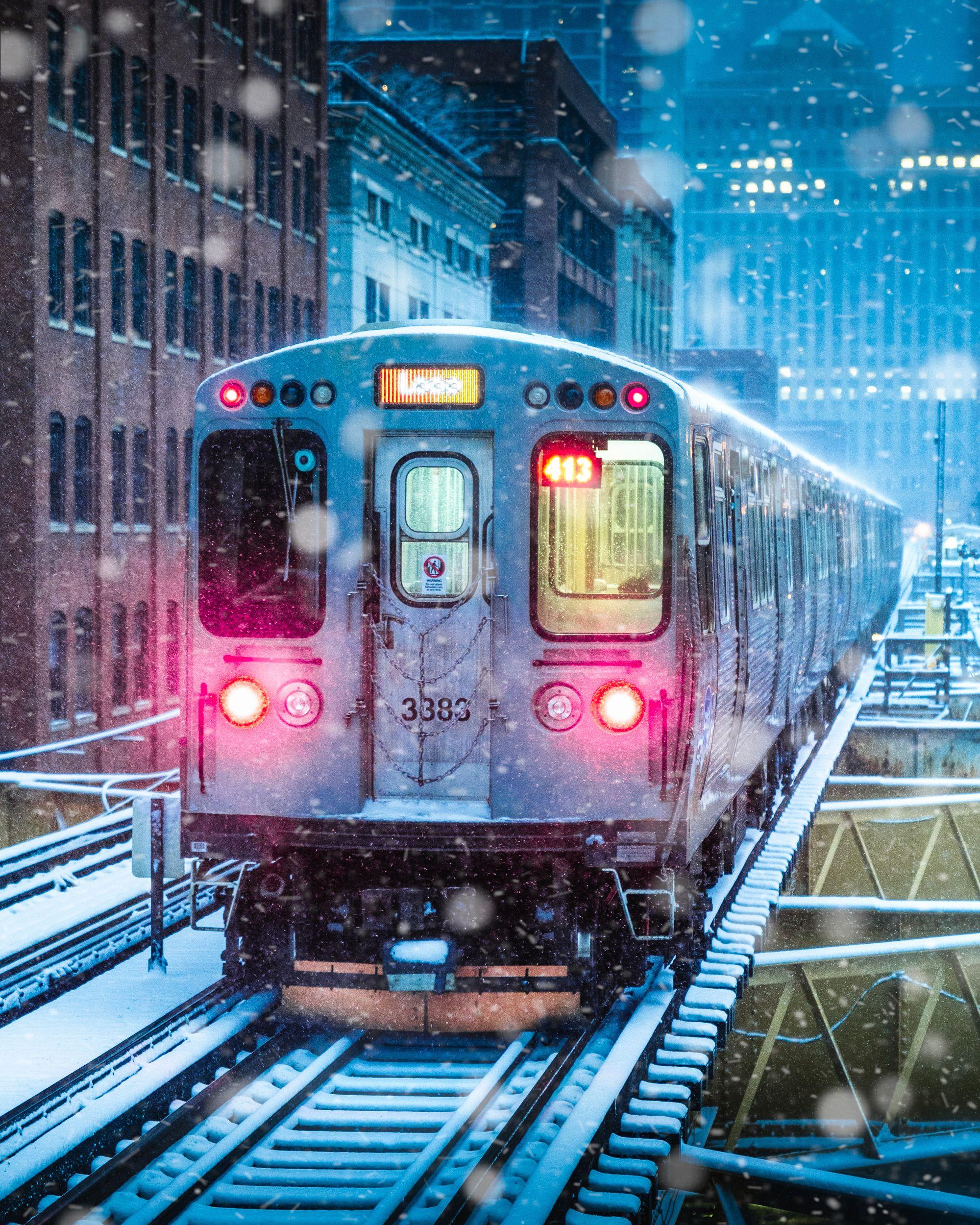 chicago, winter, snow, train, Daut Remo