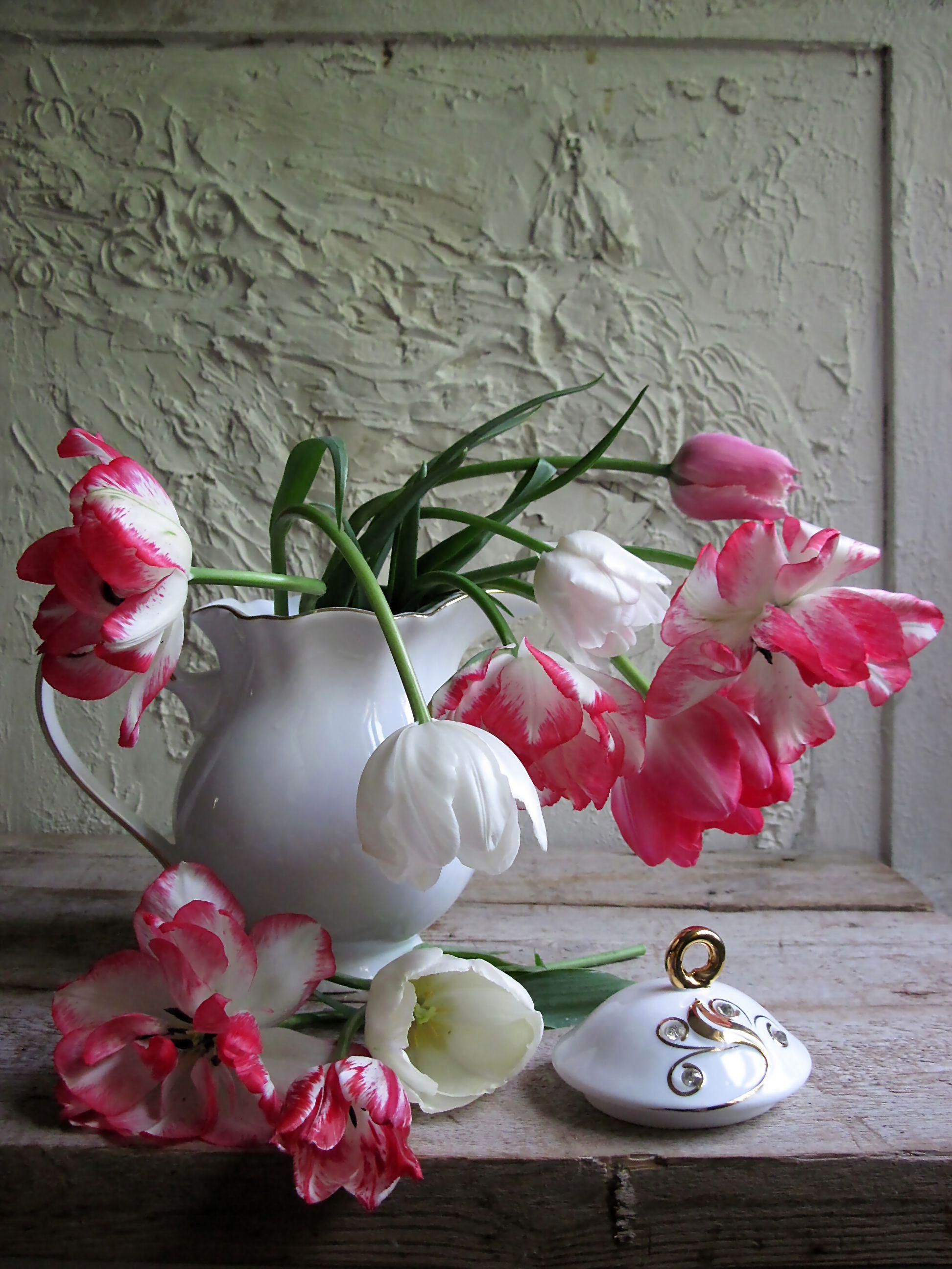 цветы, букет, тюльпаны, кувшин, фарфор, Тихомирова Наталия