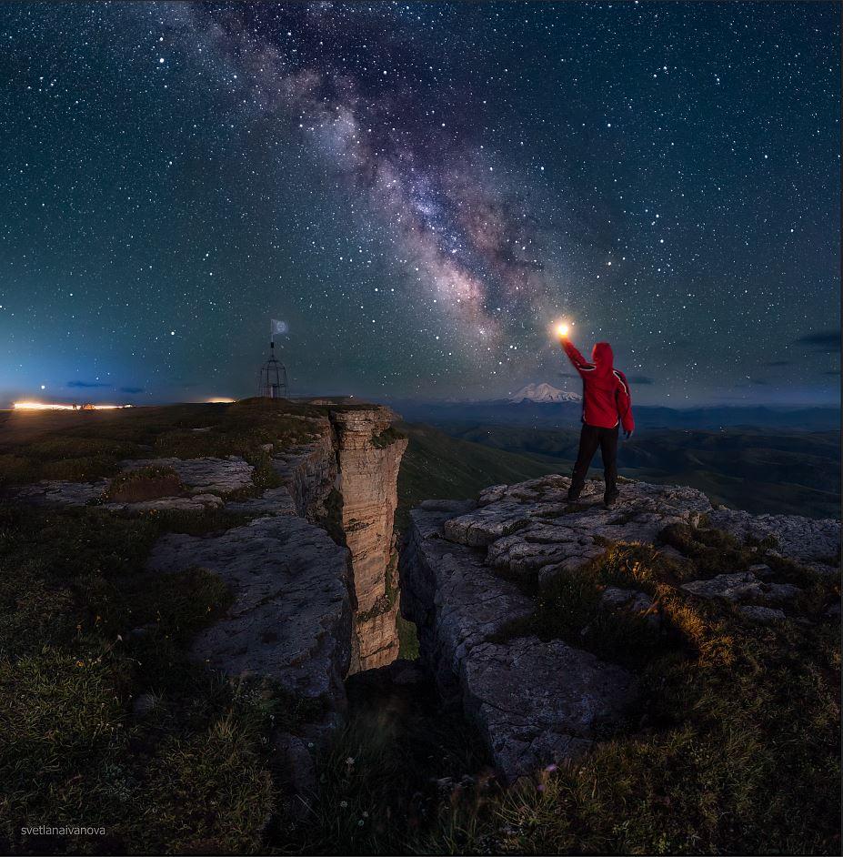 бермамыт, млечный путь, ночь, кавказ, звезды, эльбрус, Иванова Светлана