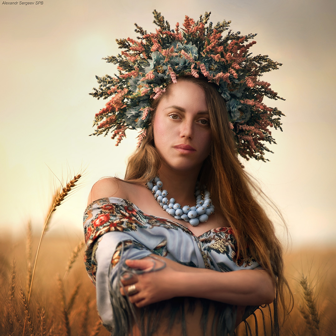 девушка,лето,поле,закат, Сергеев Александр