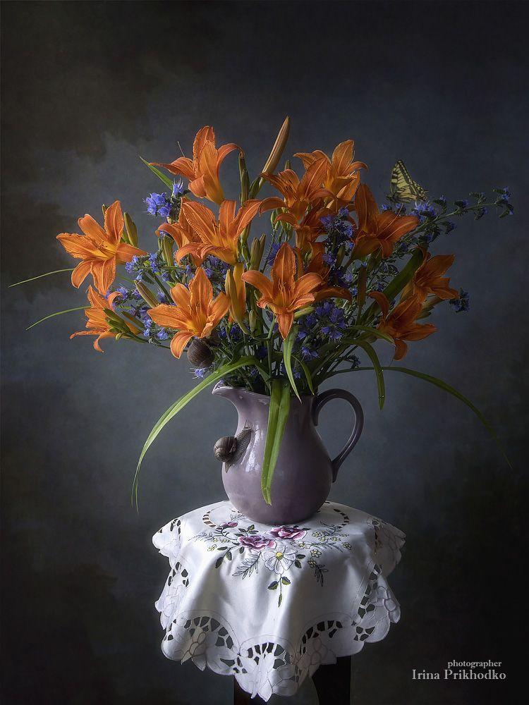 натюрморт, букет, цветы, лилейник, лето, улитки, винтажный, Приходько Ирина
