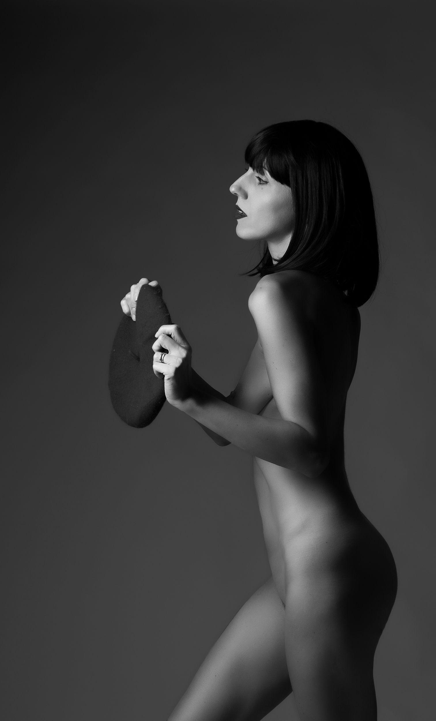 ritratto, bianco e nero, female, nudo,, espressive photography