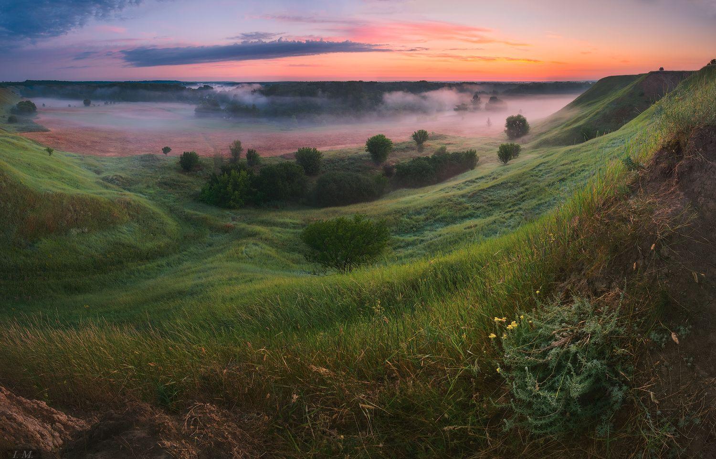 рассвет, туман, пейзаж, лето, июль, долина, утро, панорама, foggy, холмы, misty, dawn, summer, fog, valley, landscape, panorama, july, soft, hills, Ivan Maljarenko