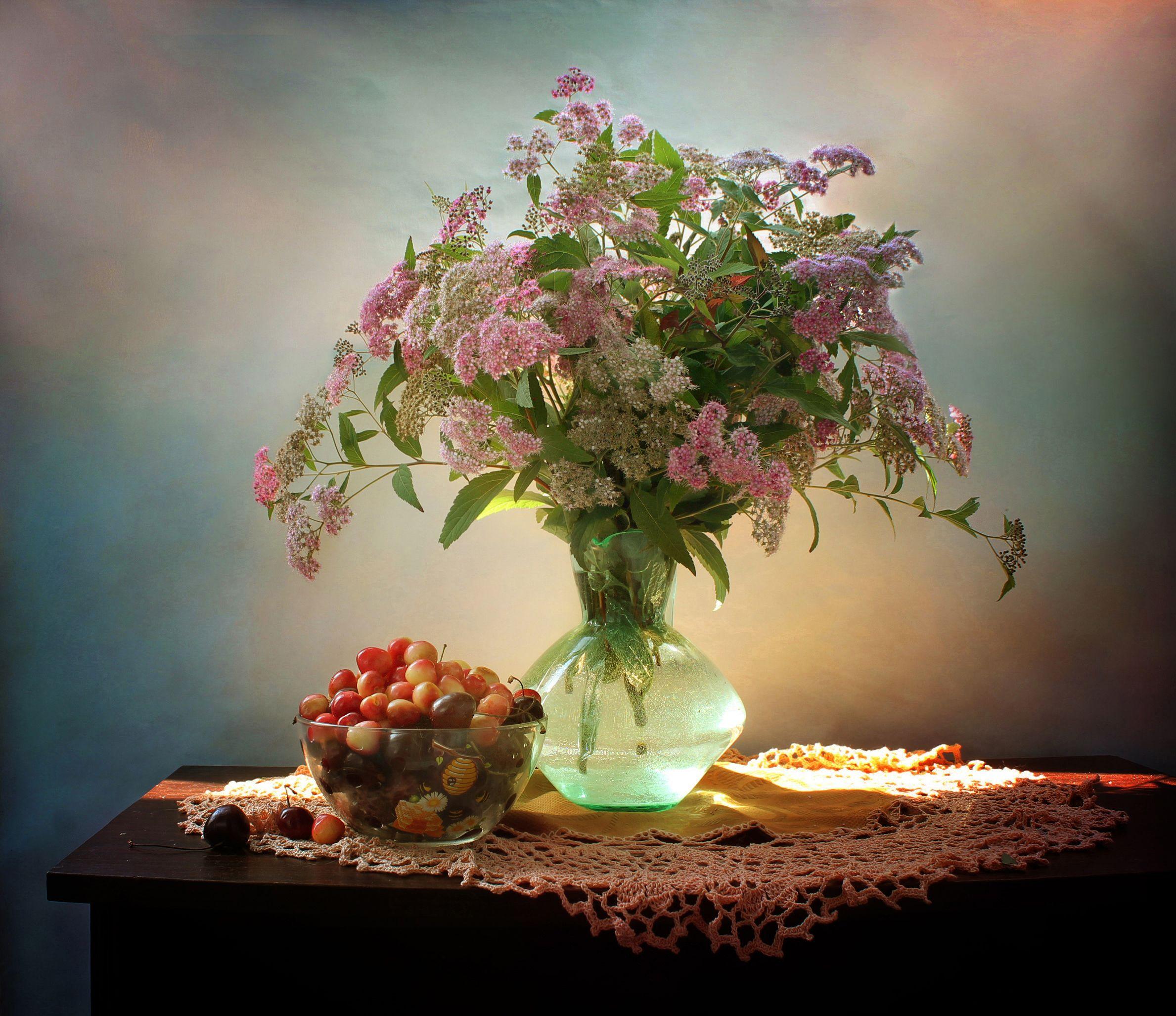 натюрморт, лето, цветы, букет, спирея, черешня, Ковалева Светлана