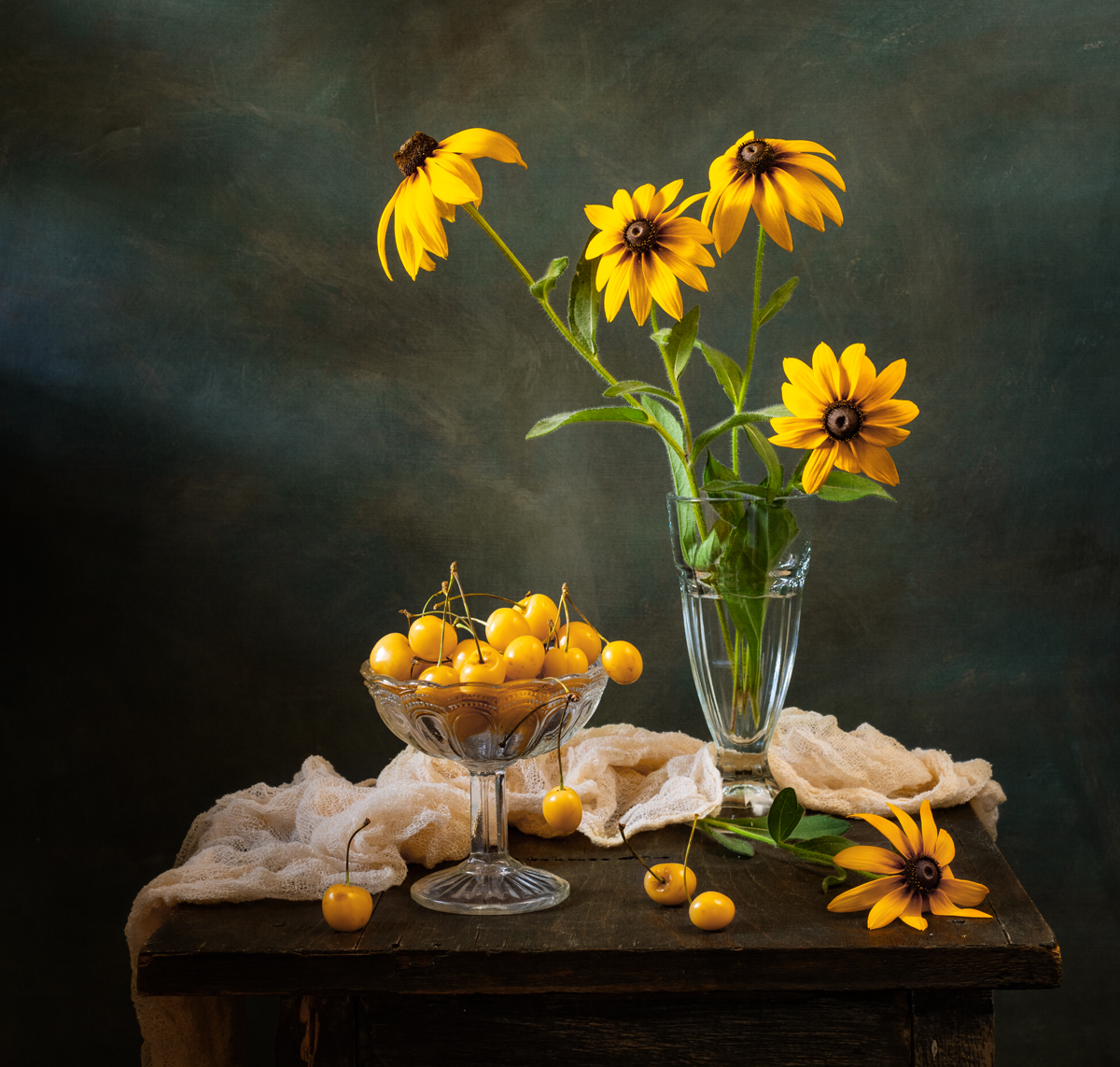 натюрморт, цветы, рудбекия, Оля