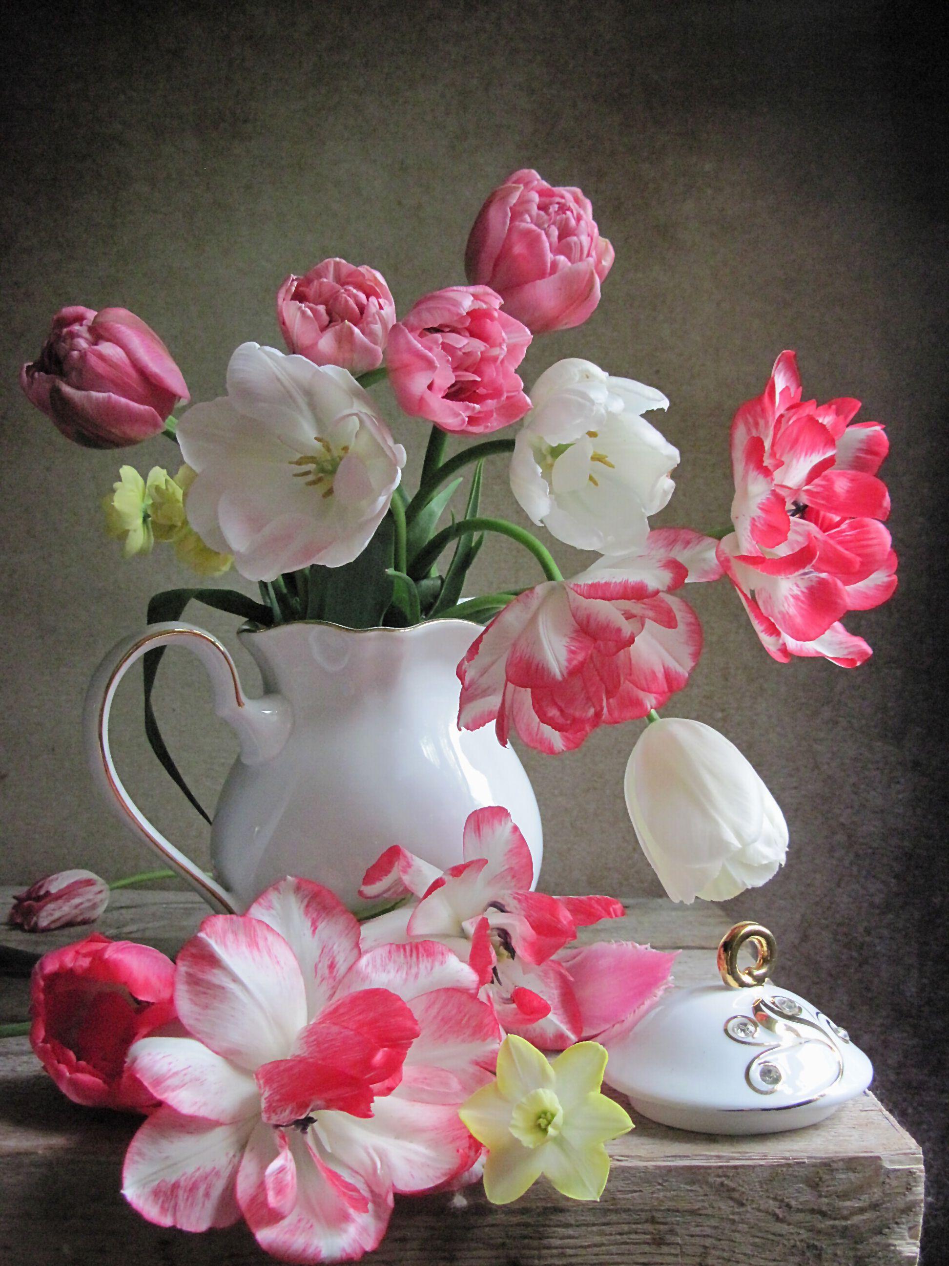 цветы, букет, тюльпаны, нарциссы, фарфор, Тихомирова Наталия