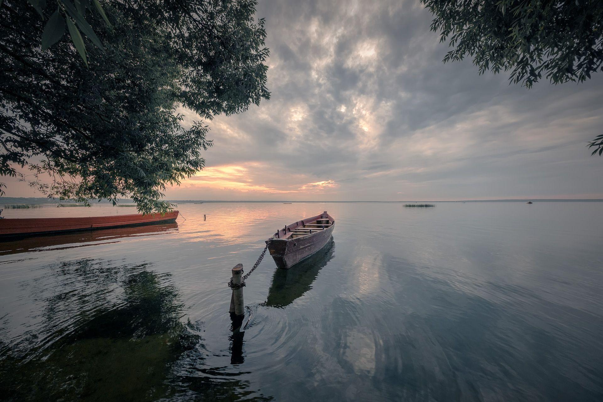 озеро, лодки, закат, деревья, облака, пейзаж, природа, переславль, плещеево, Чиж Андрей