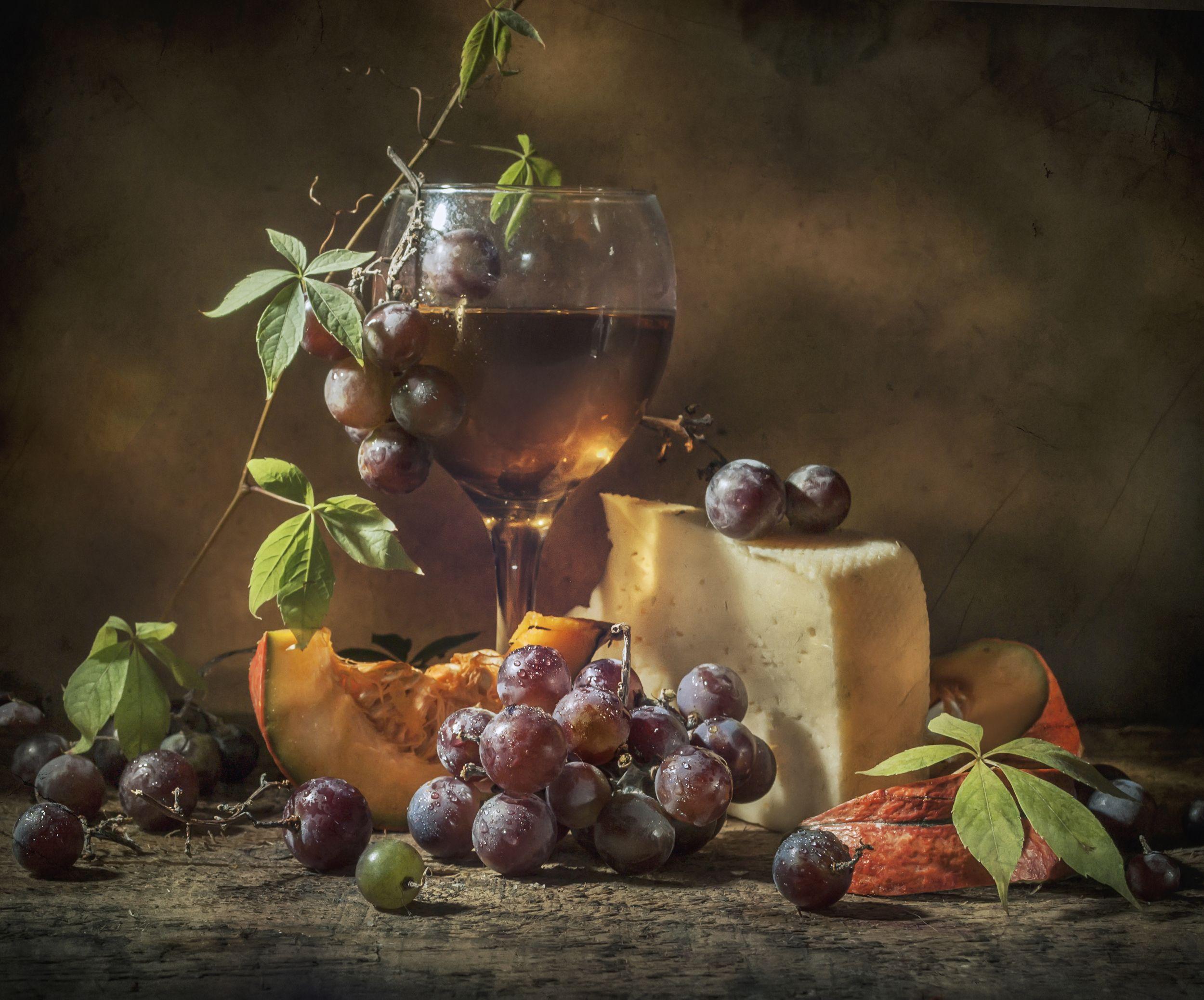 осень,тыква,бокал,вино,виноград,листики,оранжевый,сыр, Володин Владимир
