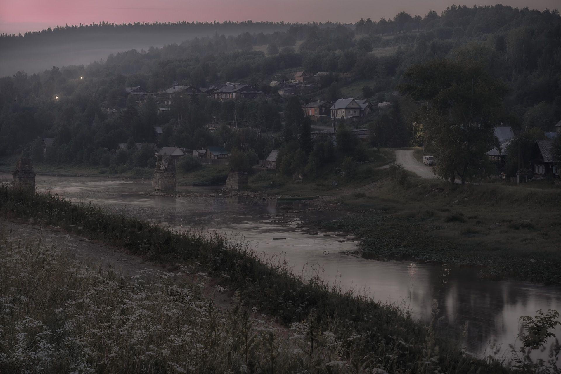 ночь, белая, лето, усьва, река, село, туман, фонарь, пейзаж, Чиж Андрей