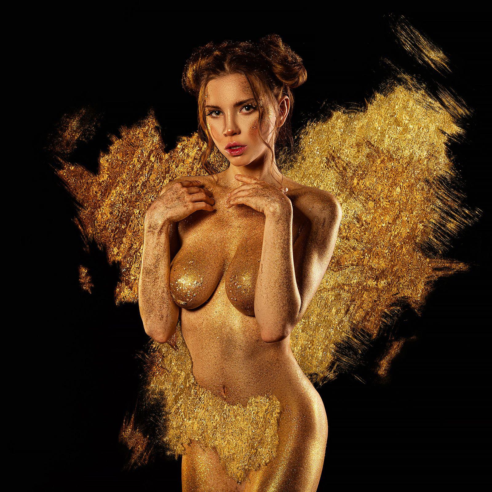 бодиарт, bodyart, золото, блёстки, позолота, жёлтый,, Andrew Fire