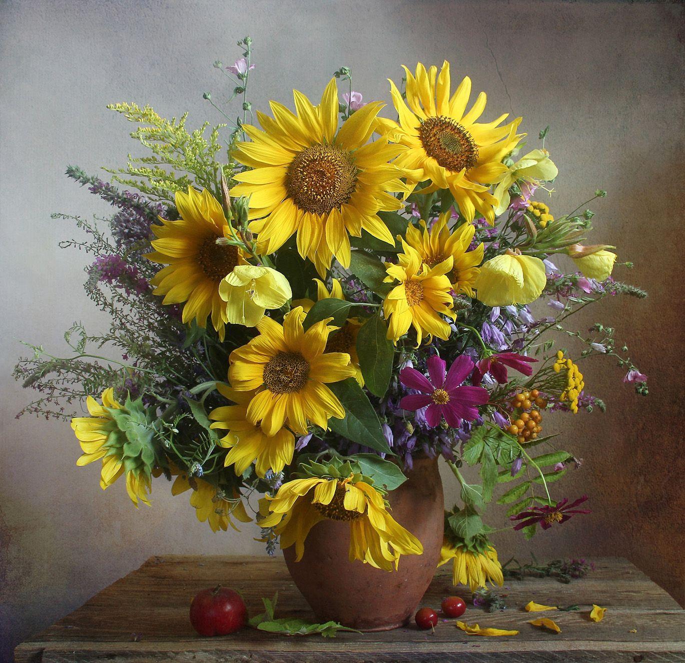 лето,  цветы, натюрморт, марина филатова, подсолнухи, Филатова Марина