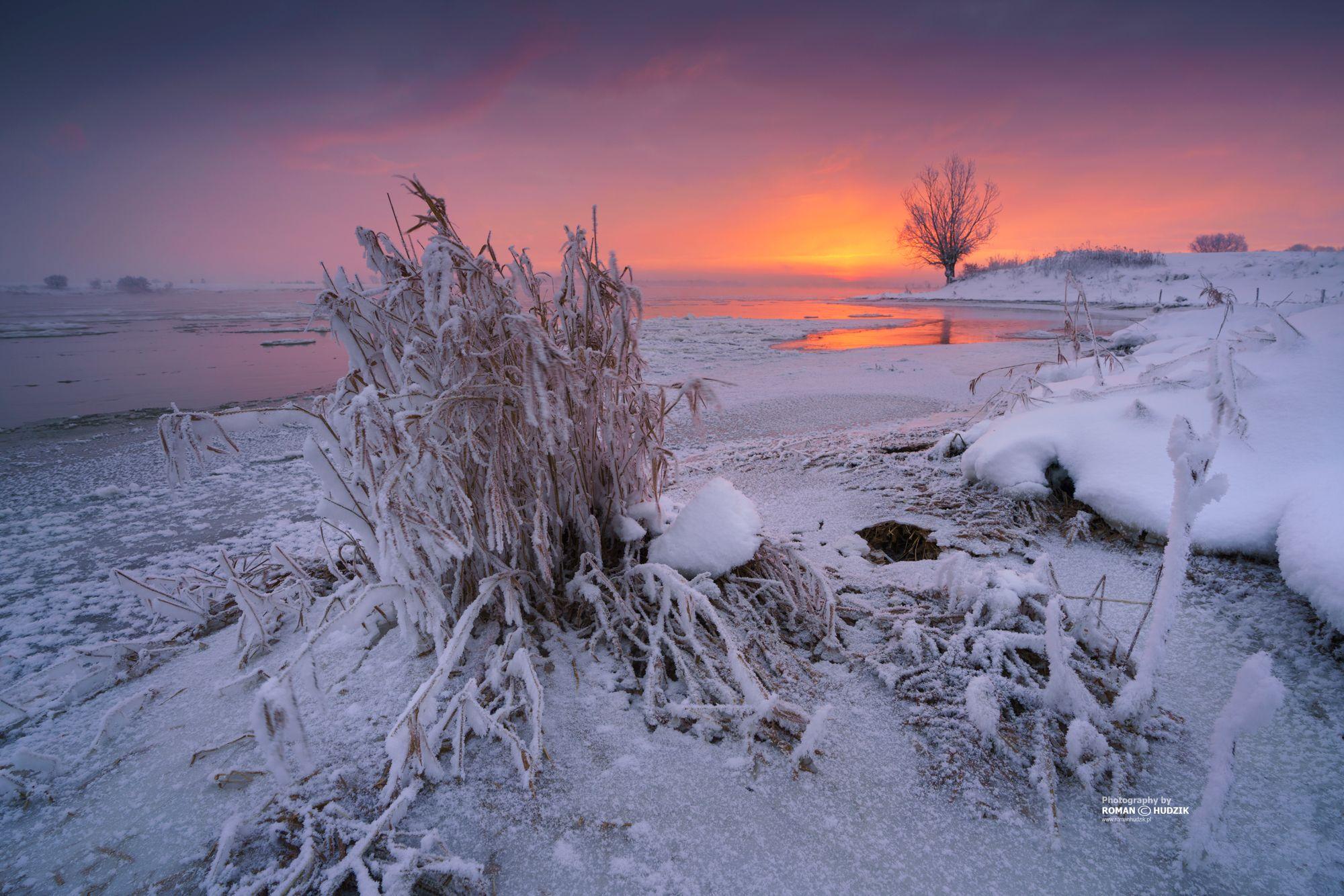 winter, landscape, river, snow, tree, ice, snow, sunrise, Poland, Kociewie, Hudzik Roman