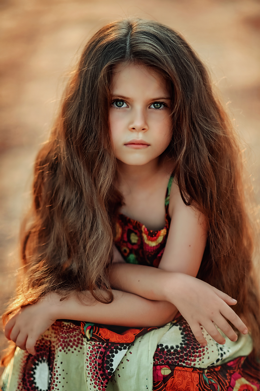портрет, девочка, волосы, взгляд, ребенок, цвет, Ганич Ирина